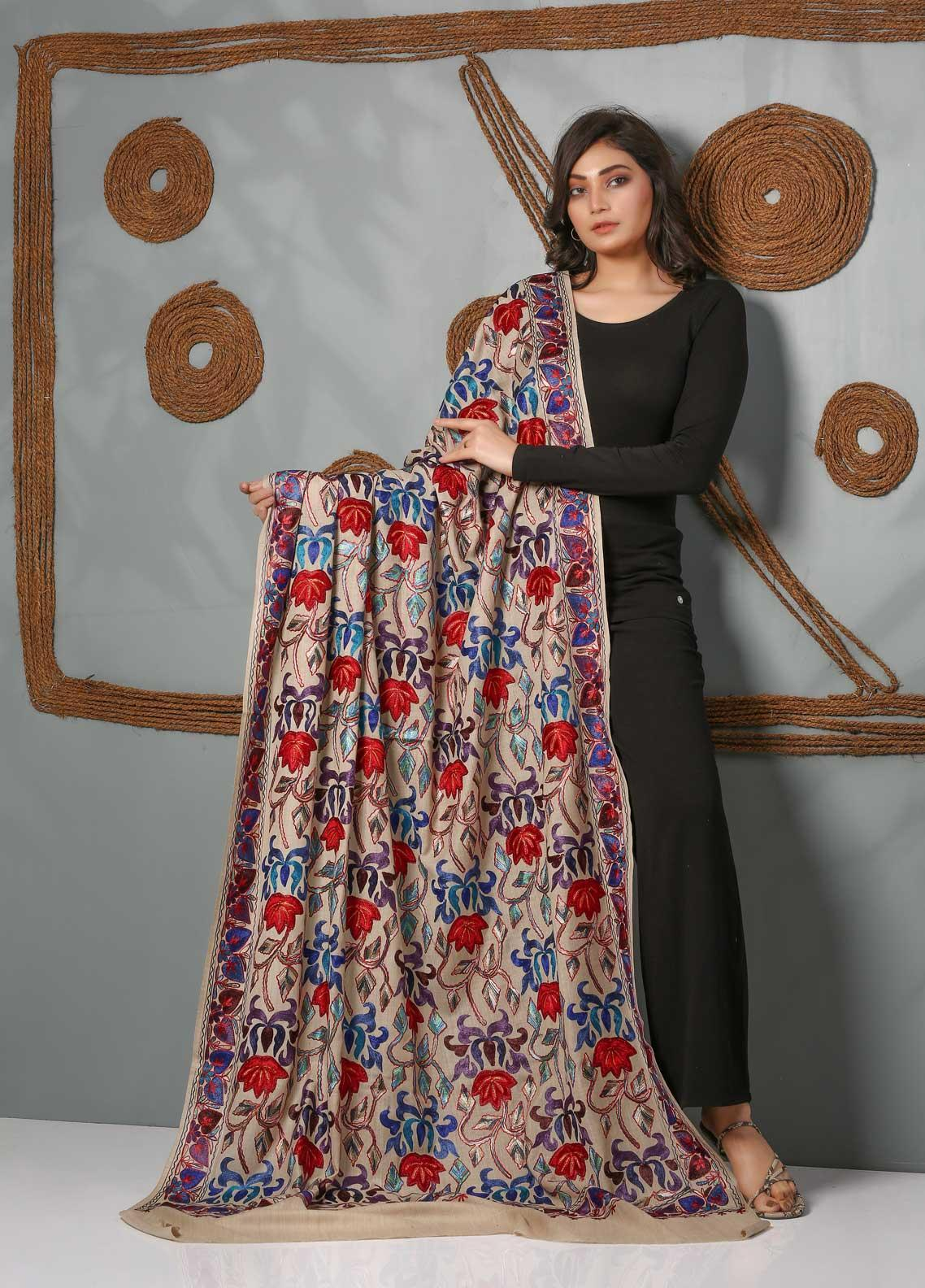 Sanaulla Exclusive Range Embroidered Pashmina  Shawl SU21PS 323808 - Pashmina Shawls