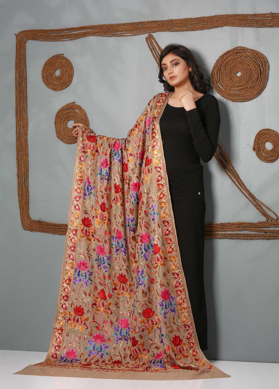 Sanaulla Exclusive Range Embroidered Pashmina Shawl SU21PS 323811 - Pashmina Shawls