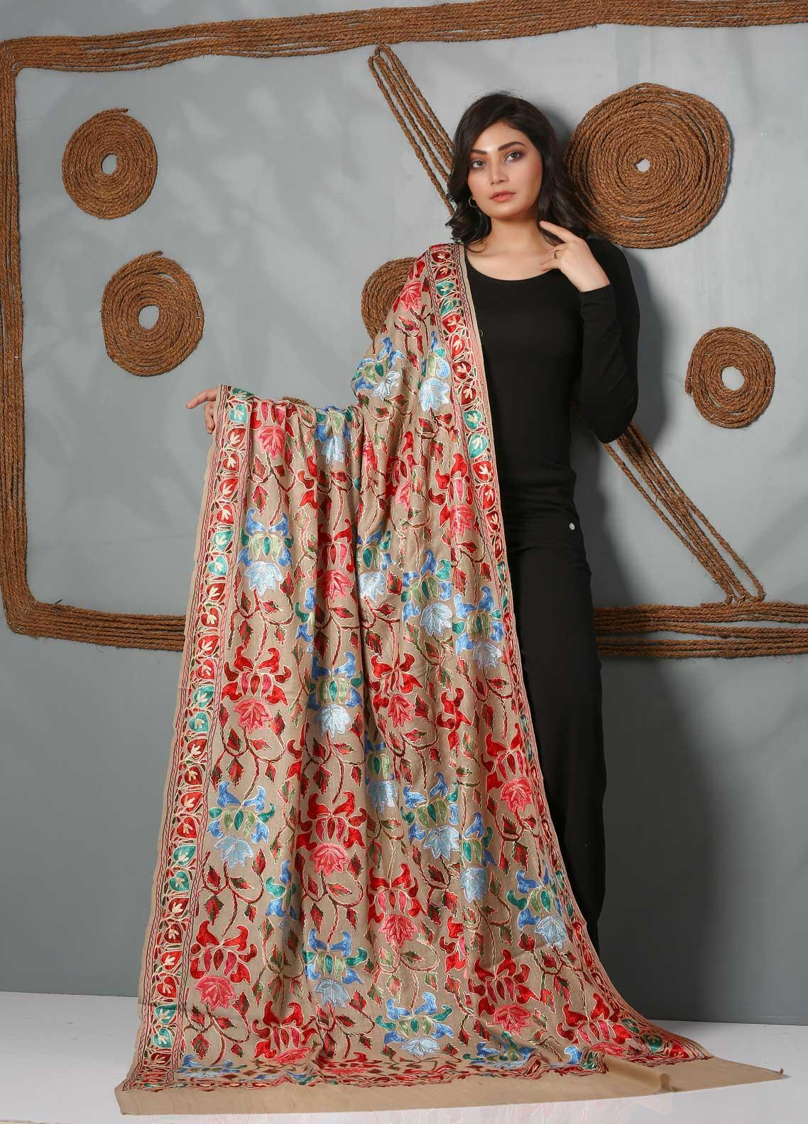 Sanaulla Exclusive Range Embroidered Pashmina  Shawl SU21PS 323812 - Pashmina Shawls