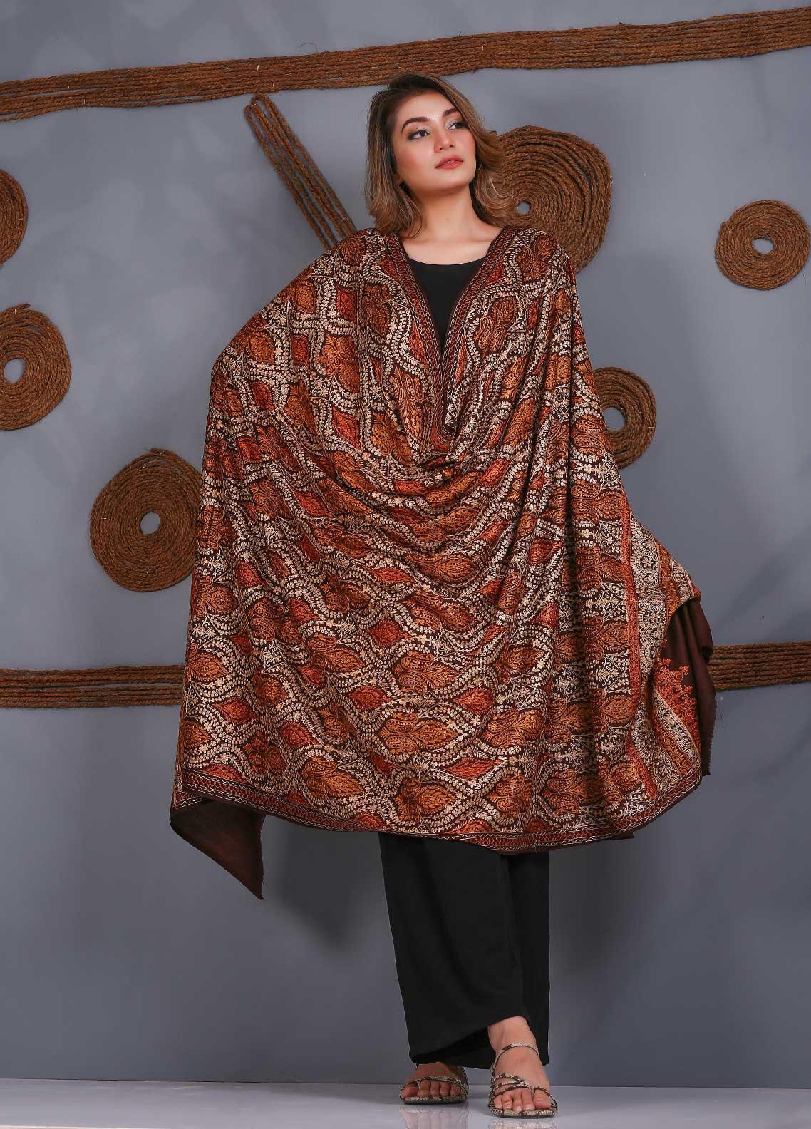 Sanaulla Exclusive Range Embroidered Pashmina  Shawl SU21PS 323885 - Pashmina Shawls