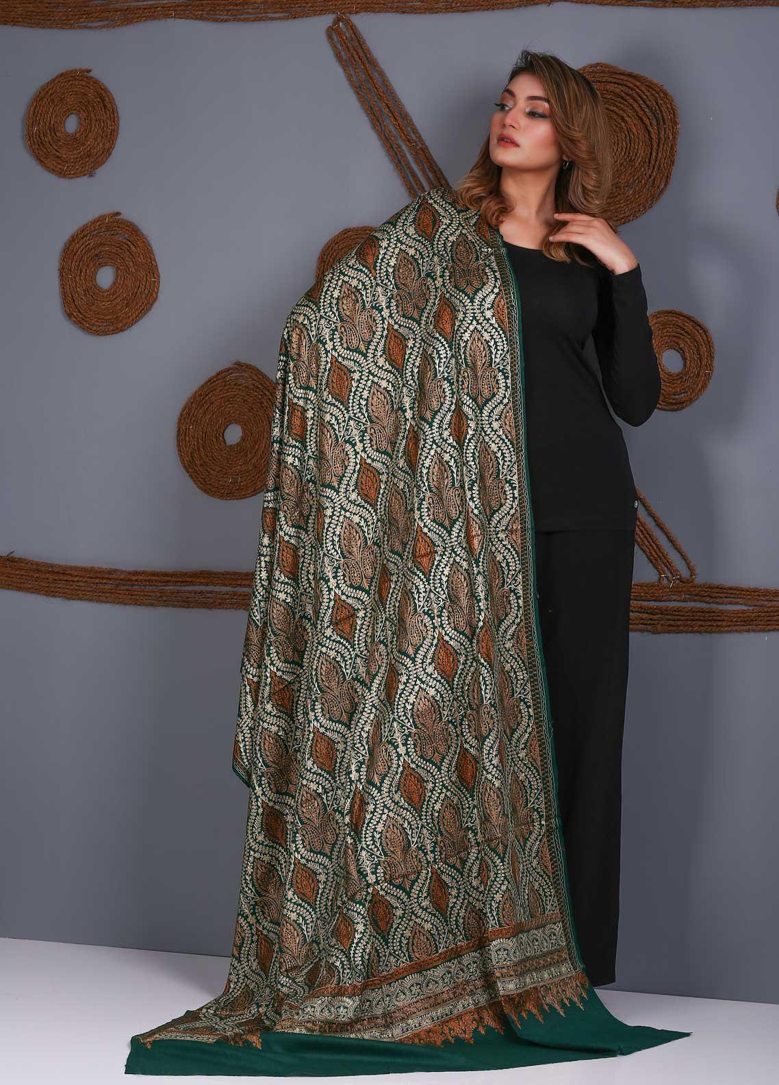 Sanaulla Exclusive Range Embroidered Pashmina Shawl SU21PS 323888 - Pashmina Shawls