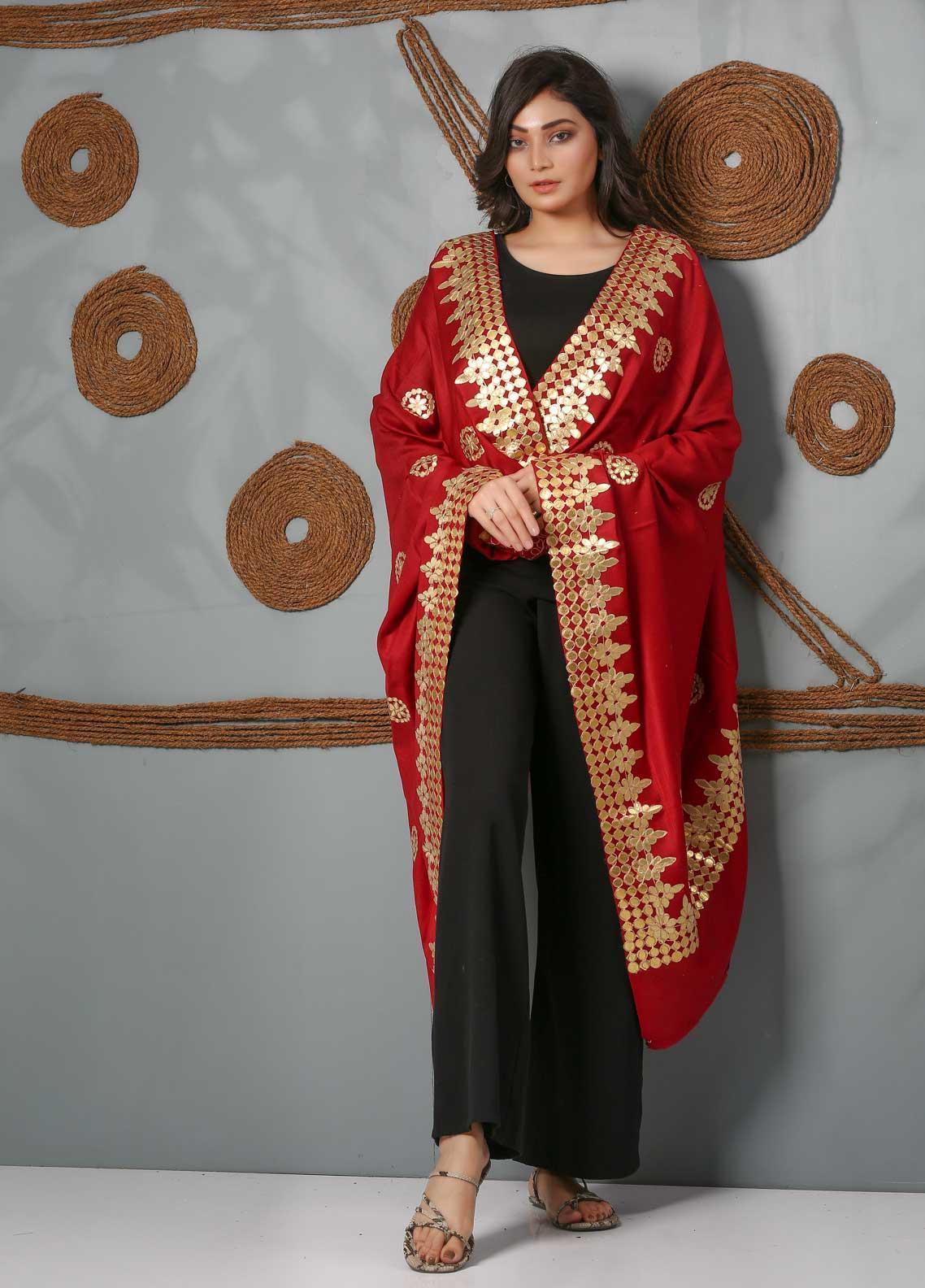 Sanaulla Exclusive Range Embroidered Pashmina  Shawl SU21PS 323966 - Pashmina Shawls