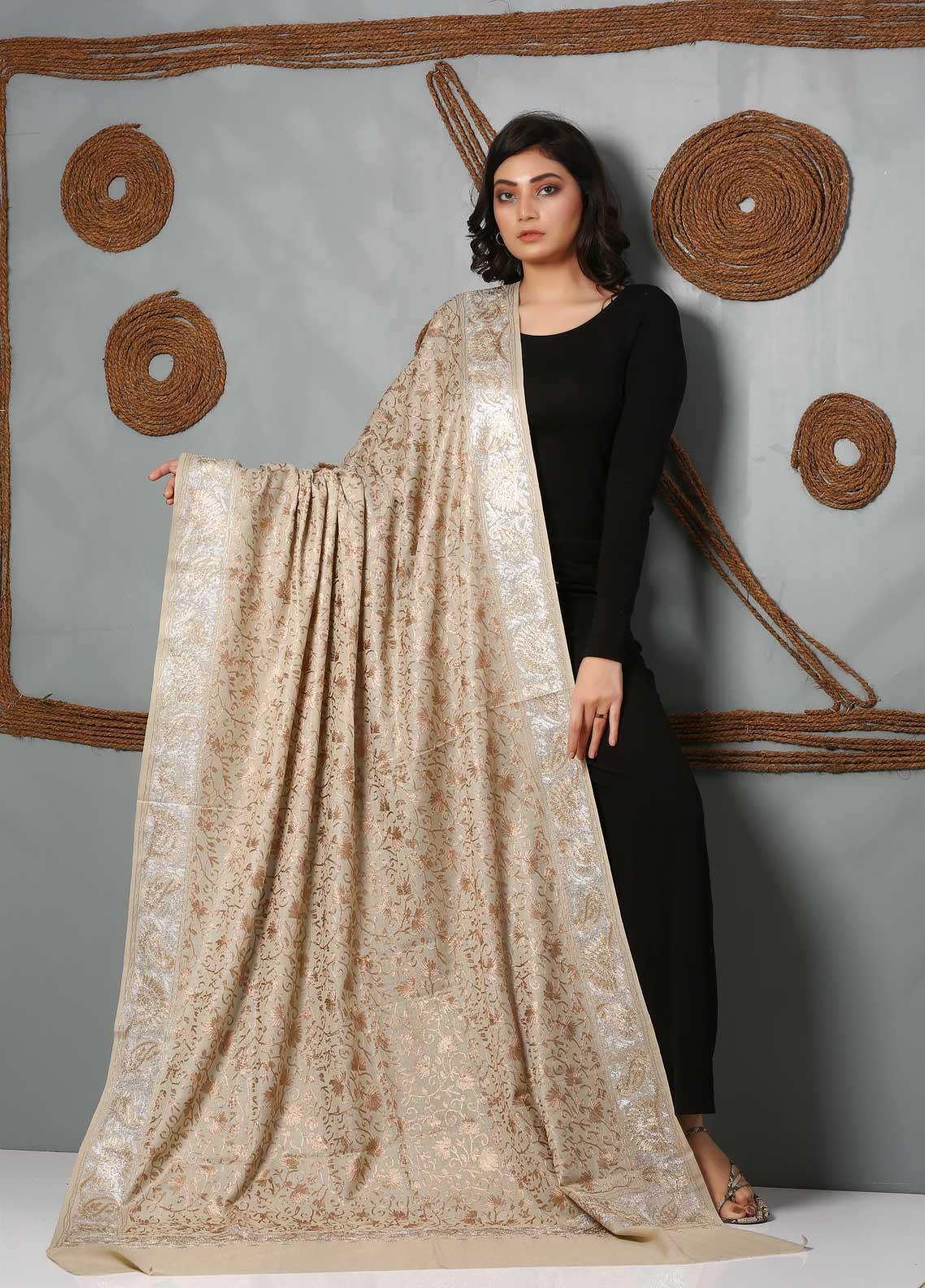 Sanaulla Exclusive Range Embroidered Pashmina  Shawl SU21PS 323976 - Pashmina Shawls