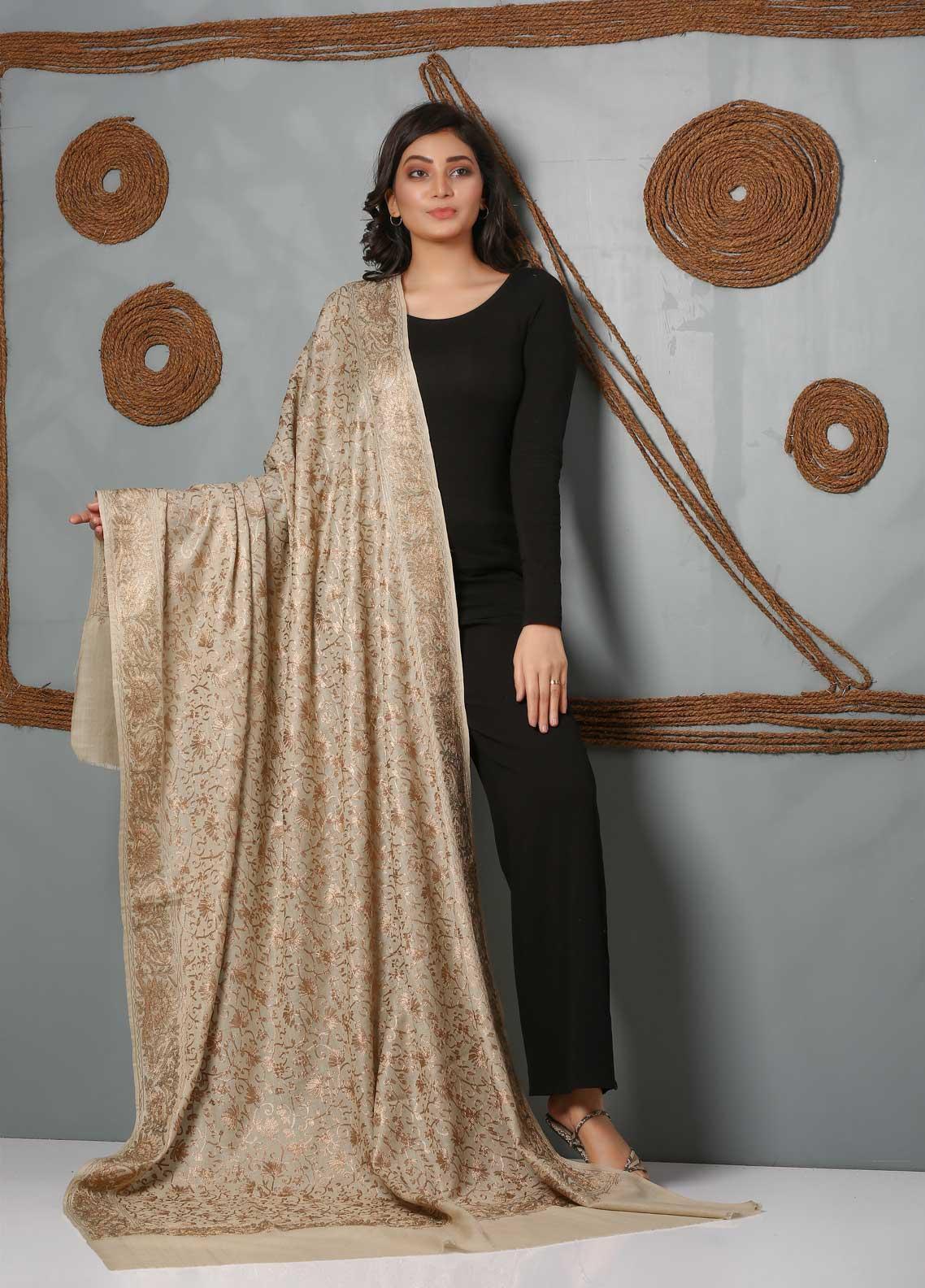 Sanaulla Exclusive Range Embroidered Pashmina  Shawl SU21PS 323977 - Pashmina Shawls