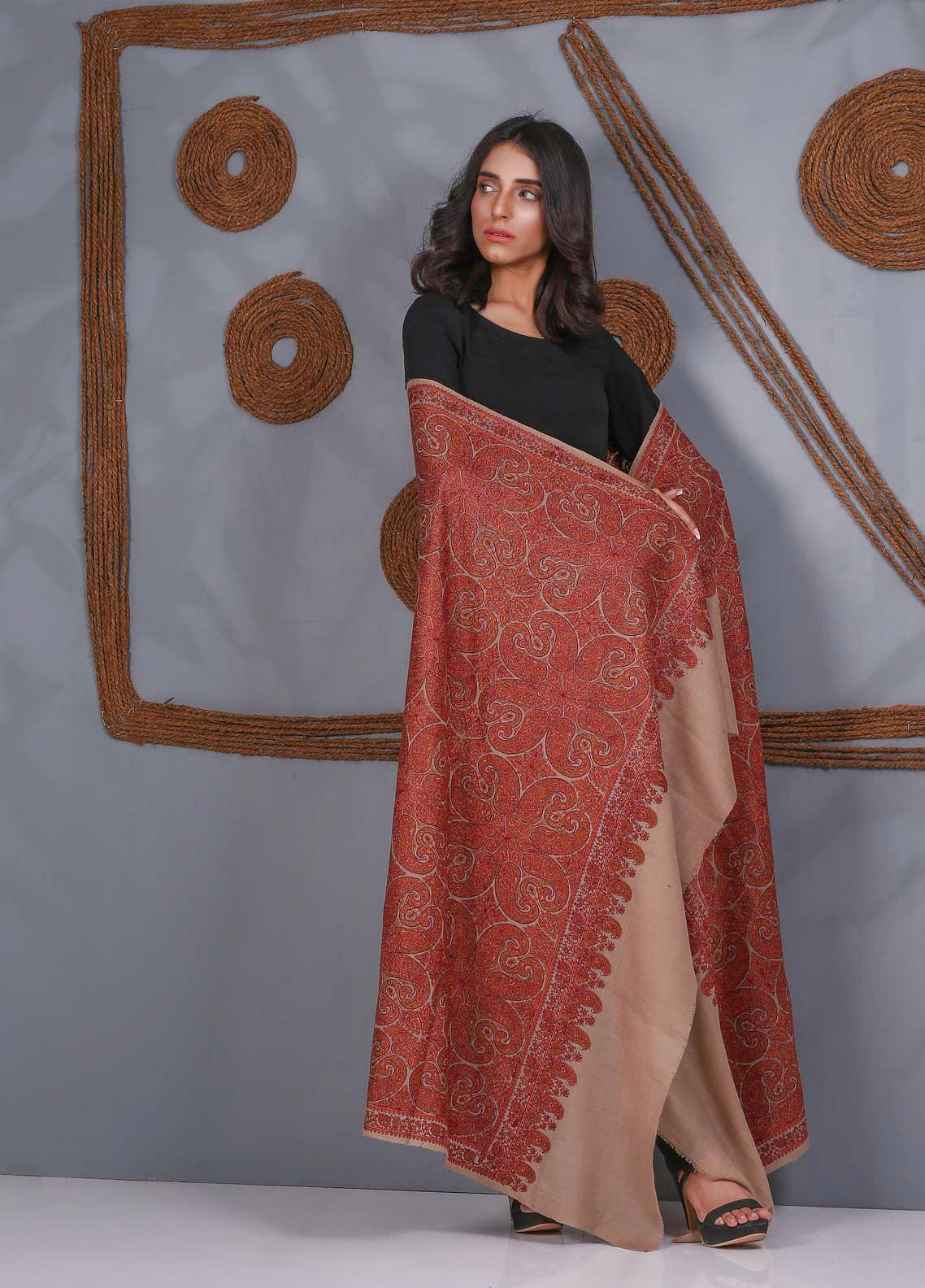 Sanaulla Exclusive Range Embroidered Pashmina  Shawl SU21PS 324046 - Pashmina Shawls