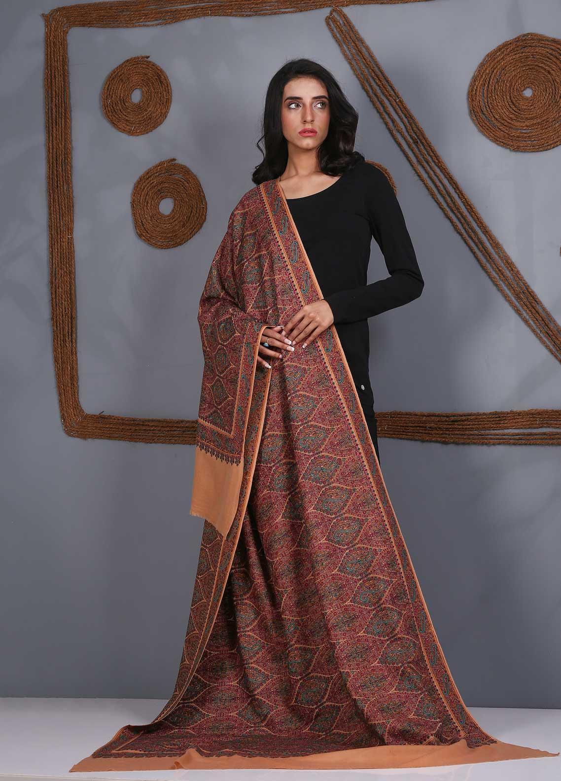 Sanaulla Exclusive Range Embroidered Pashmina  Shawl SU21PS 324049 - Pashmina Shawls