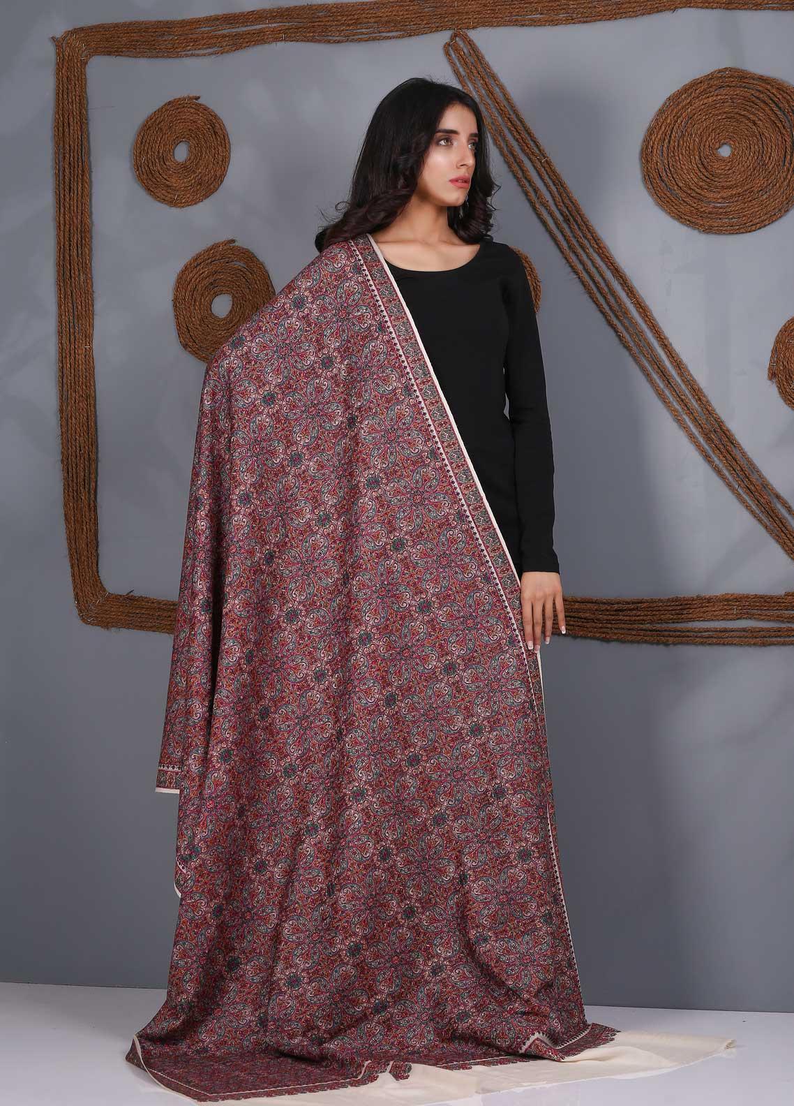 Sanaulla Exclusive Range Embroidered Pashmina Shawl SU21PS 324050 - Pashmina Shawls
