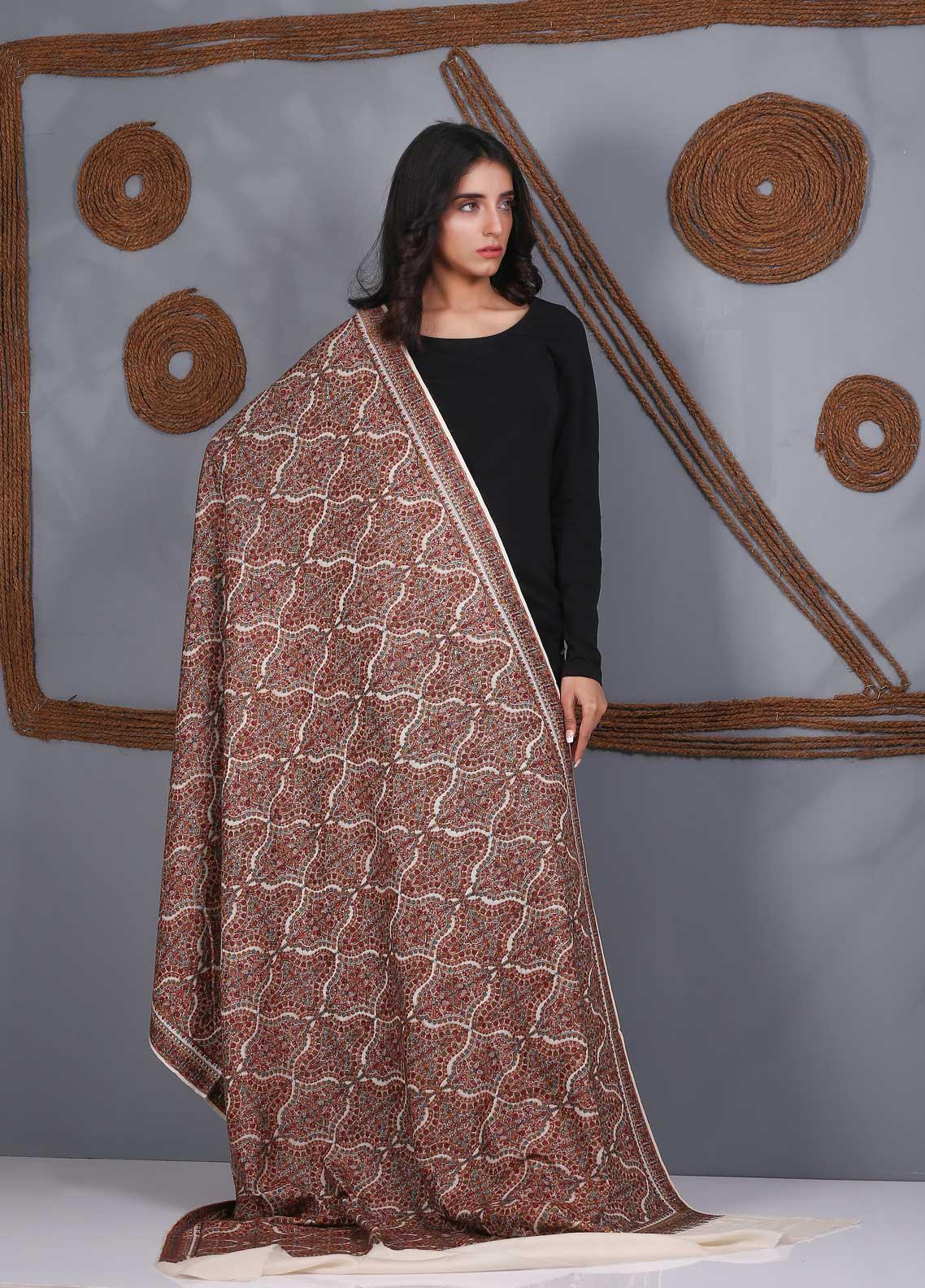 Sanaulla Exclusive Range Embroidered Pashmina  Shawl SU21PS 324051 - Pashmina Shawls