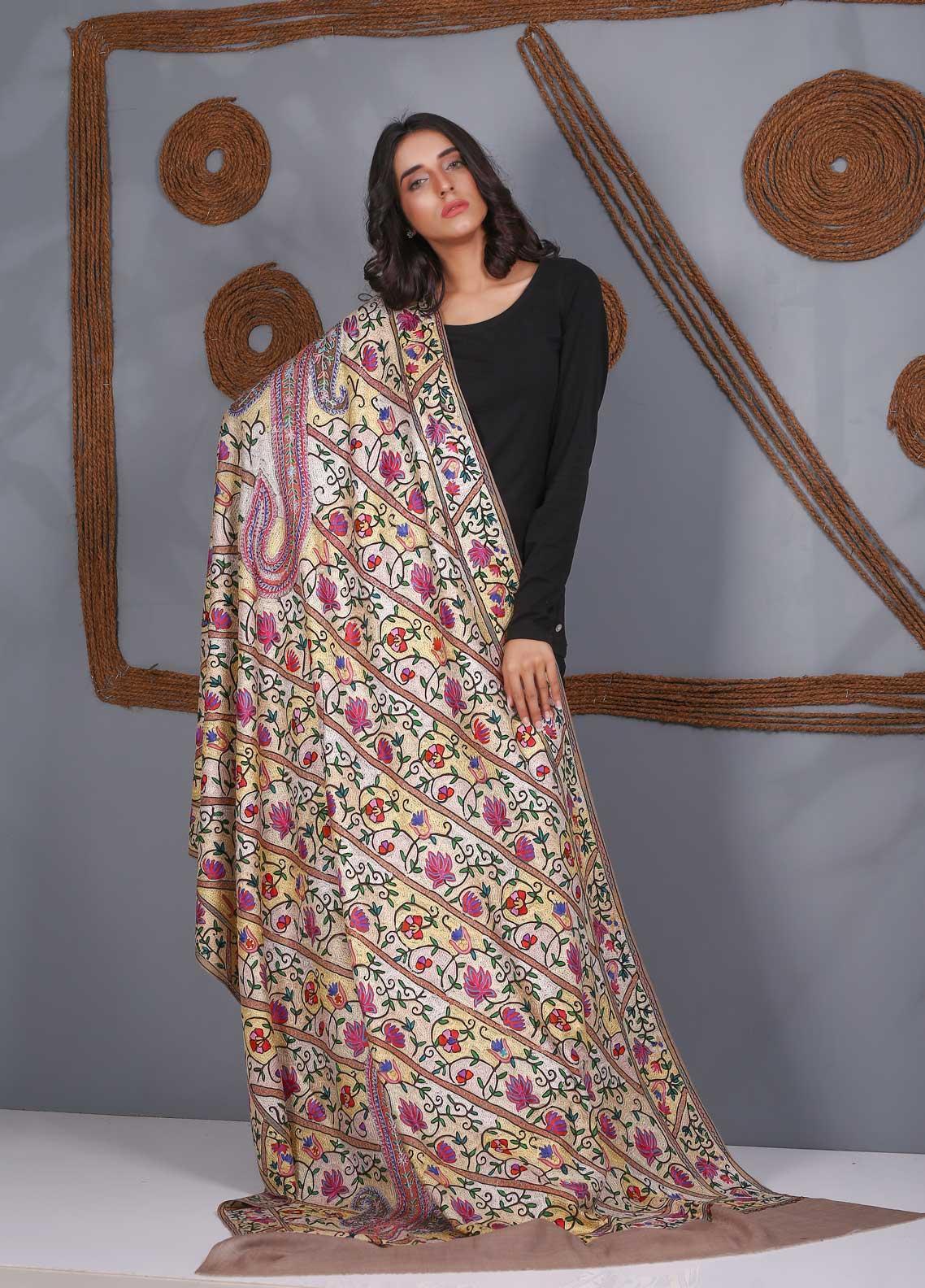 Sanaulla Exclusive Range Embroidered Pashmina  Shawl SU21PS 324053 - Pashmina Shawls