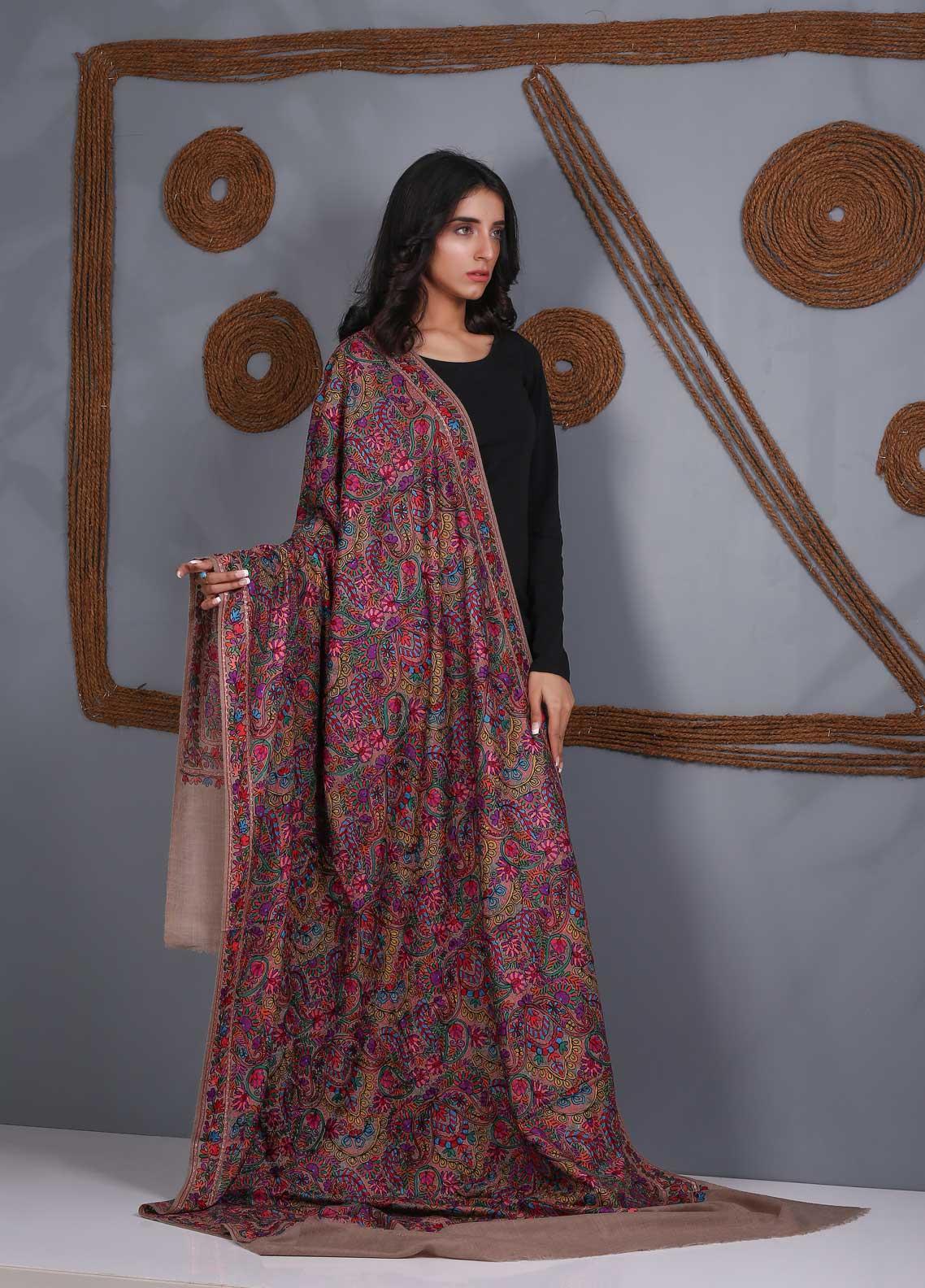 Sanaulla Exclusive Range Embroidered Pashmina  Shawl SU21PS 324054 - Pashmina Shawls