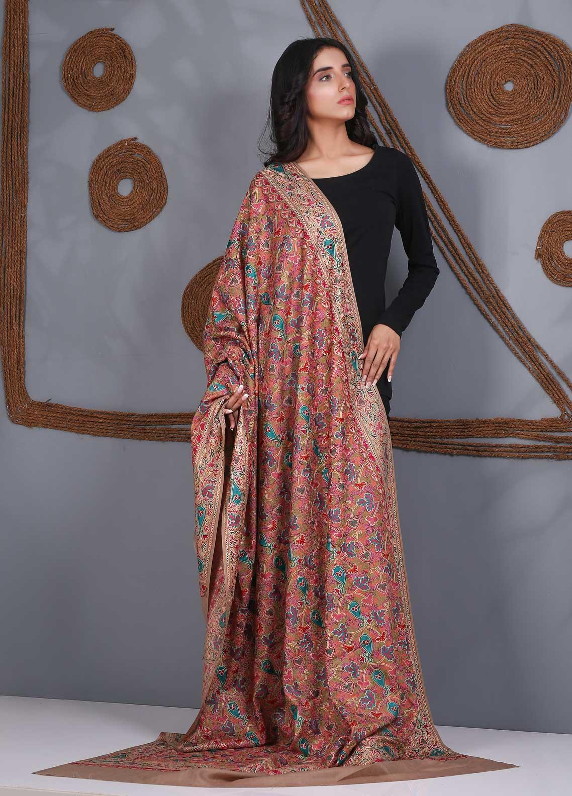 Sanaulla Exclusive Range Embroidered Pashmina  Shawl SU21PS 324055 - Pashmina Shawls