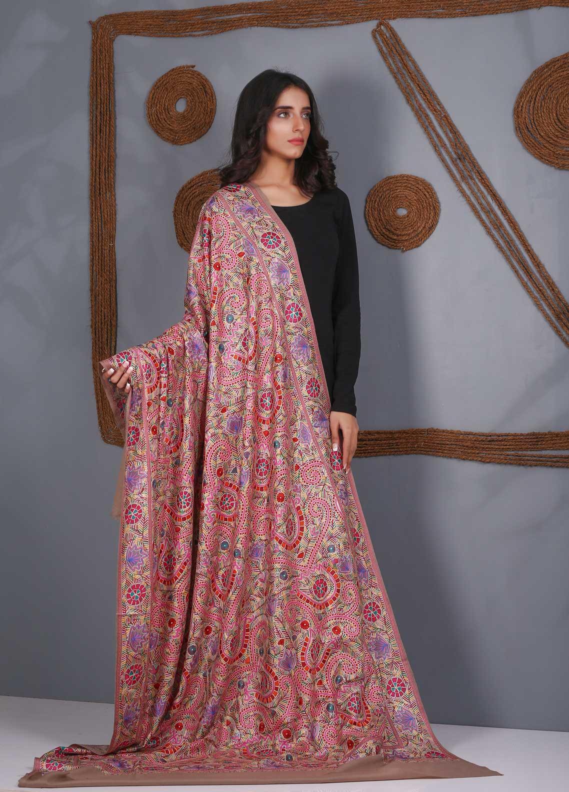 Sanaulla Exclusive Range Embroidered Pashmina  Shawl SU21PS 324057 - Pashmina Shawls