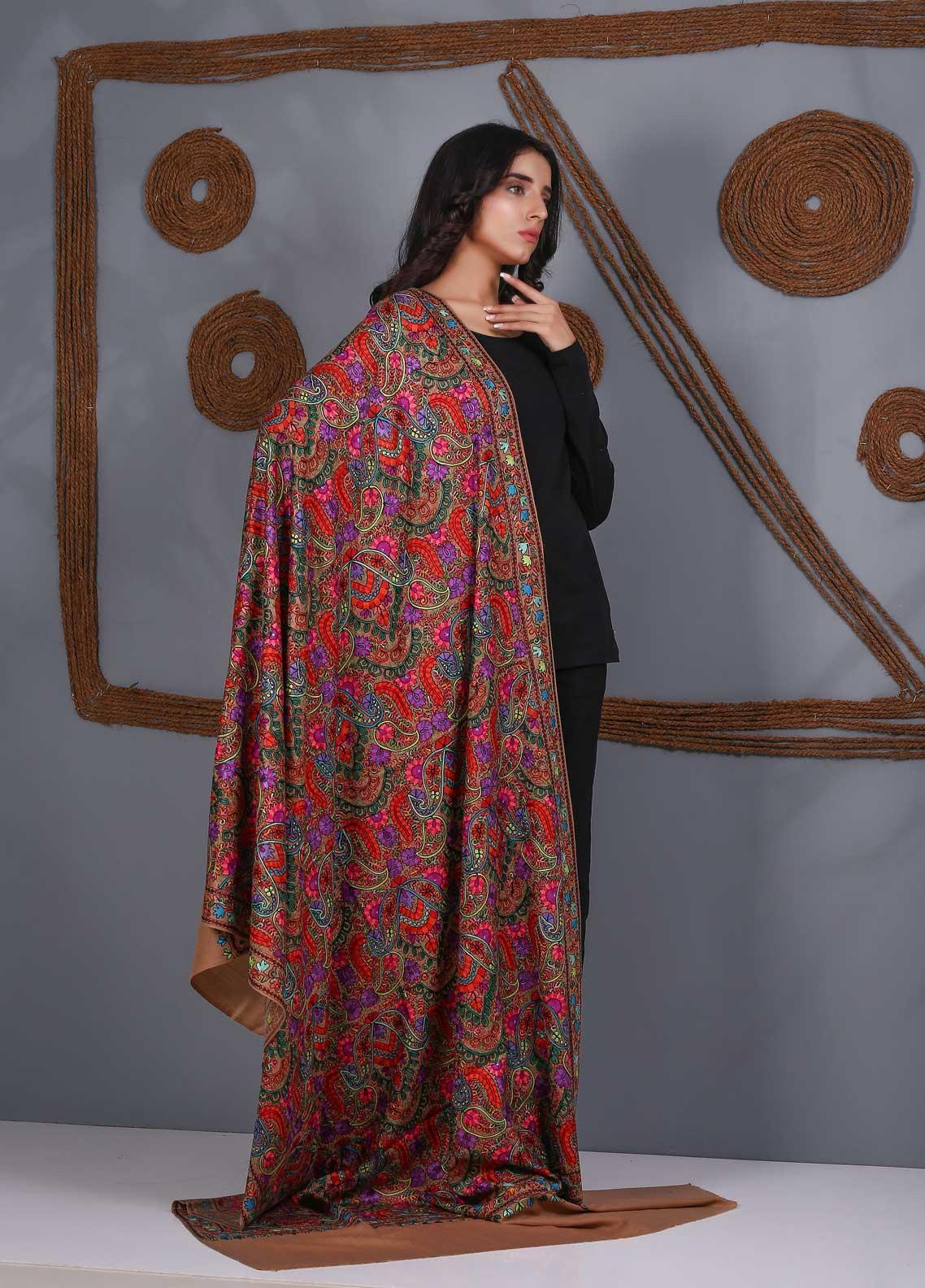 Sanaulla Exclusive Range Embroidered Pashmina  Shawl SU21PS 324060 - Pashmina Shawls