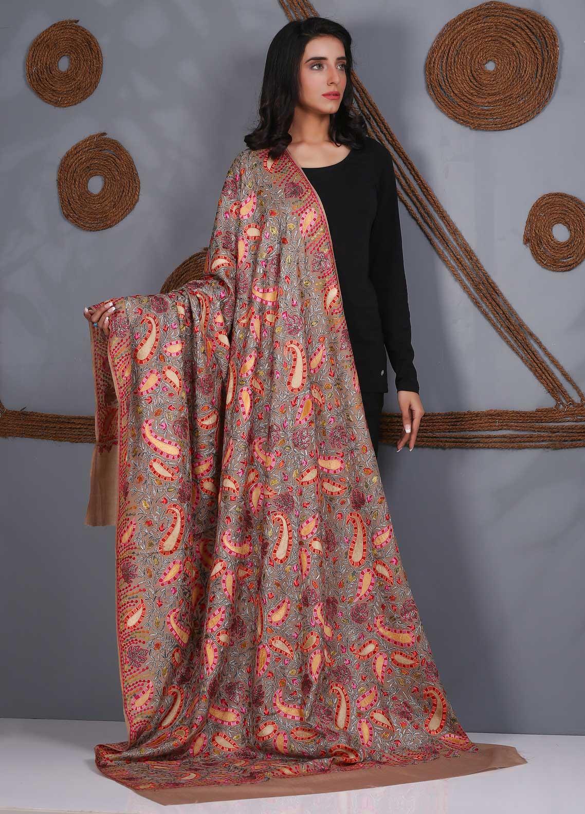 Sanaulla Exclusive Range Embroidered Pashmina Shawl SU21PS 324061 - Pashmina Shawls