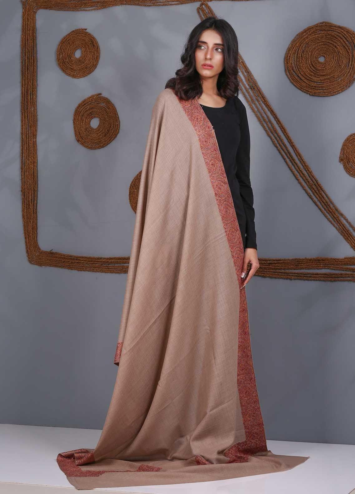 Sanaulla Exclusive Range Embroidered Pashmina  Shawl SU21PS 324108 - Pashmina Shawls