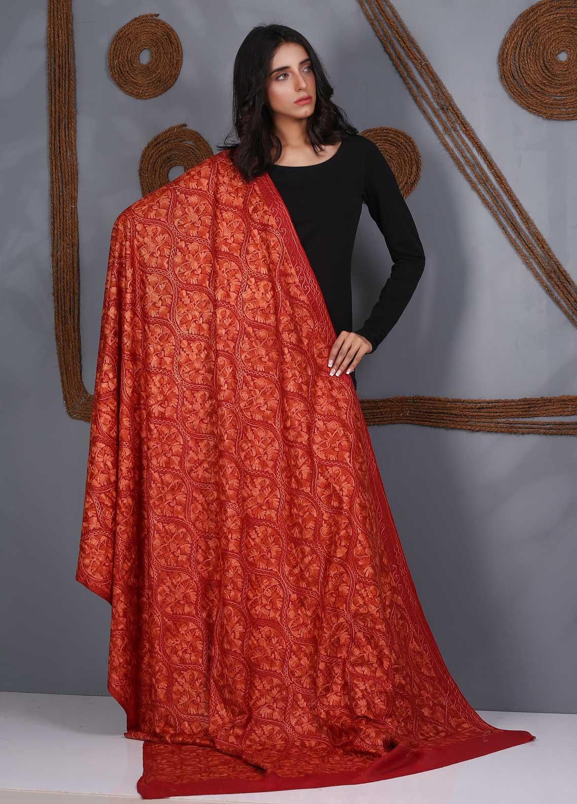 Sanaulla Exclusive Range Embroidered Pashmina  Shawl SU21PS 324117 - Pashmina Shawls
