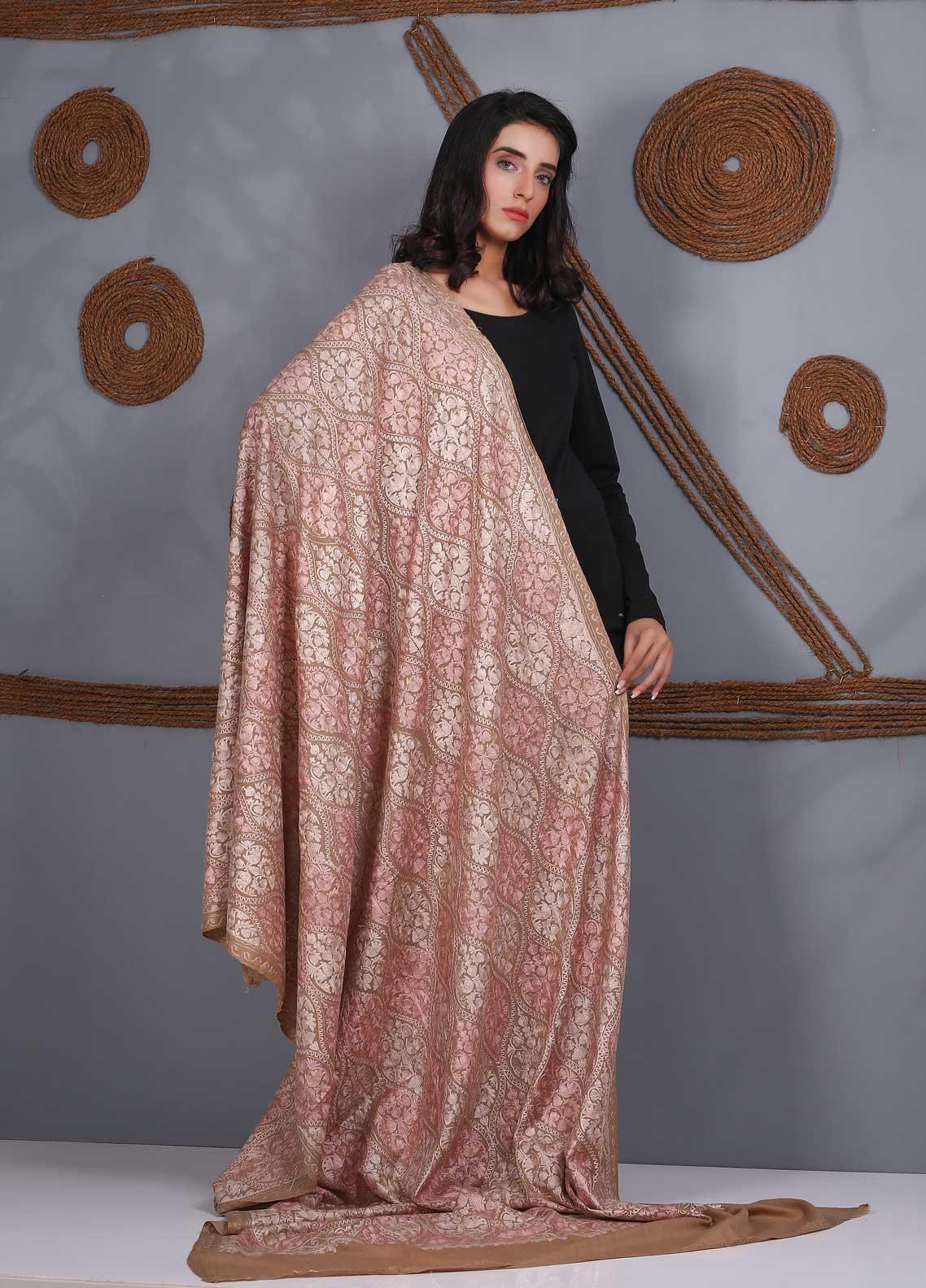Sanaulla Exclusive Range Embroidered Pashmina  Shawl SU21PS 324122 - Pashmina Shawls