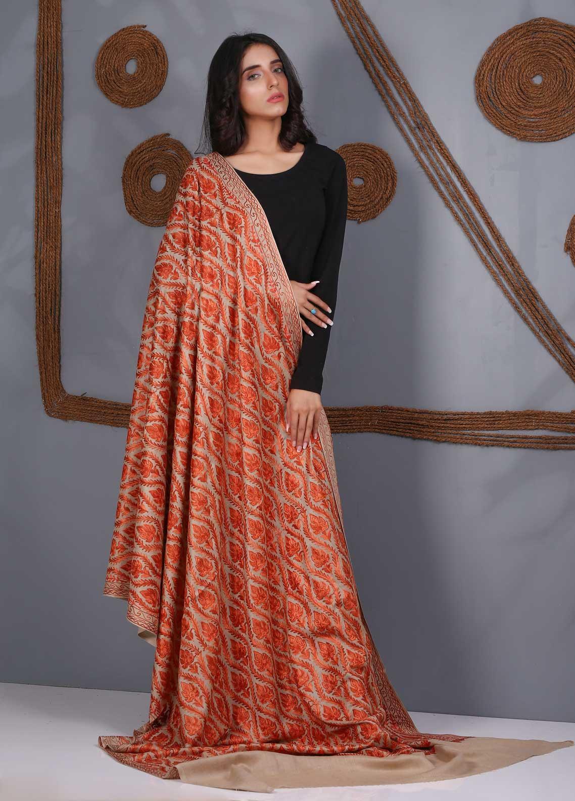 Sanaulla Exclusive Range Embroidered Pashmina  Shawl SU21PS 324124 - Pashmina Shawls