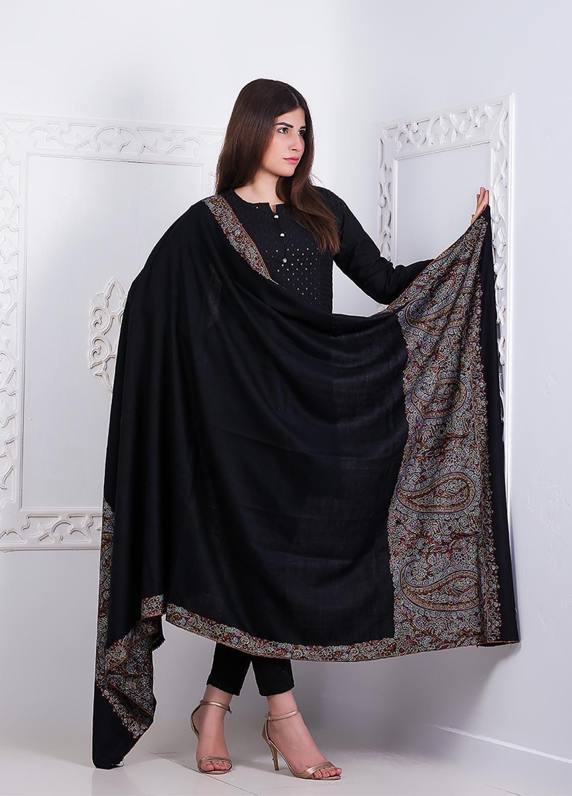 Sanaulla Exclusive Range Embroidered Pashmina  Shawl AKP-03 Black - Pashmina Shawls