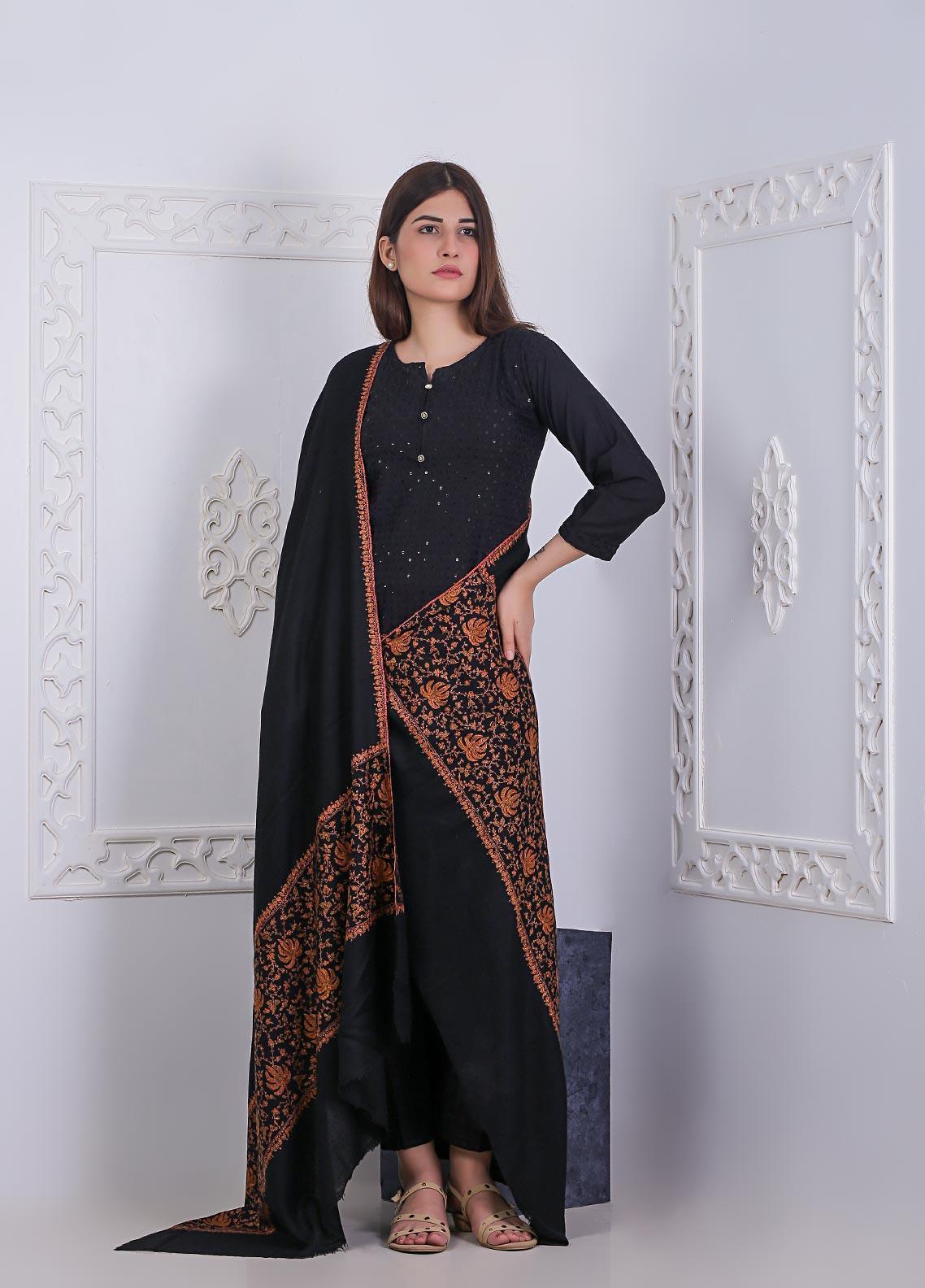 Sanaulla Exclusive Range Embroidered Pashmina  Shawl AKP-05 Black - Pashmina Shawls
