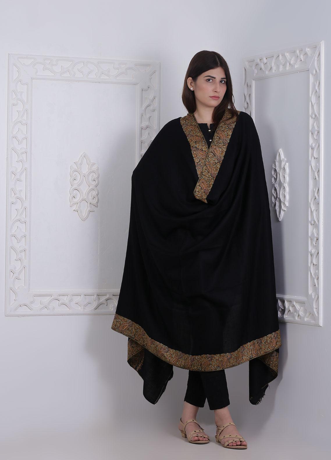 Sanaulla Exclusive Range Embroidered Pashmina  Shawl AKP-06 Black - Pashmina Shawls