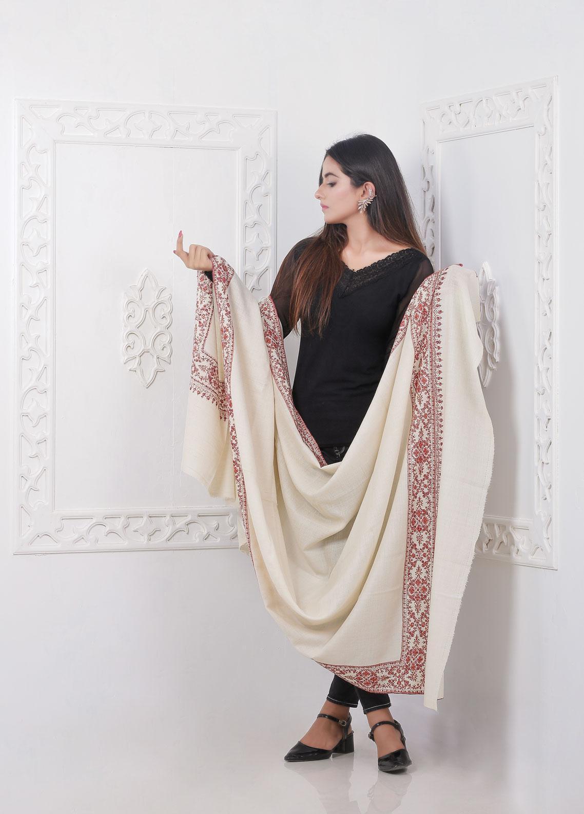 Sanaulla Exclusive Range Embroidered Pashmina  Shawl AKP-10 Off/White - Pashmina Shawls
