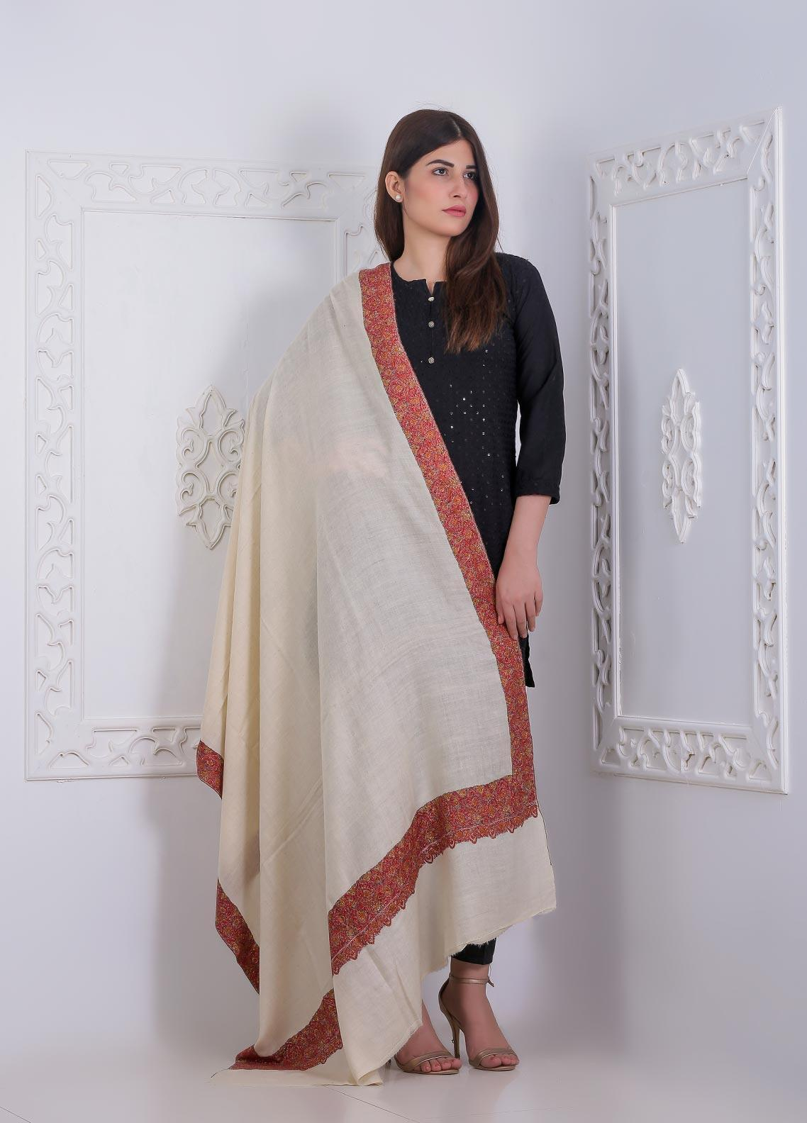 Sanaulla Exclusive Range Embroidered Pashmina  Shawl AKP-11 Off/White - Pashmina Shawls