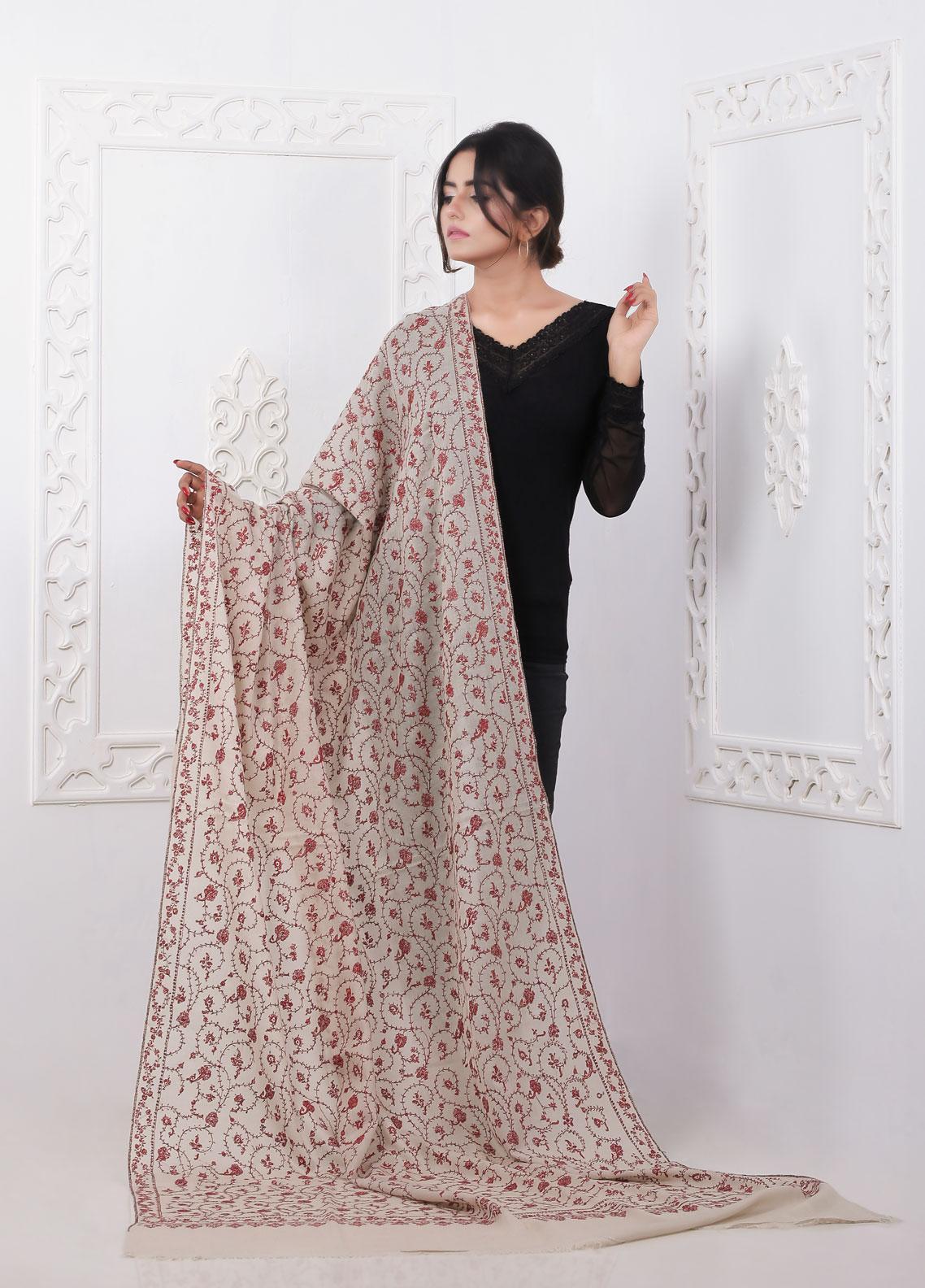 Sanaulla Exclusive Range Embroidered Pashmina Shawl AKP-12 Brown - Pashmina Shawls