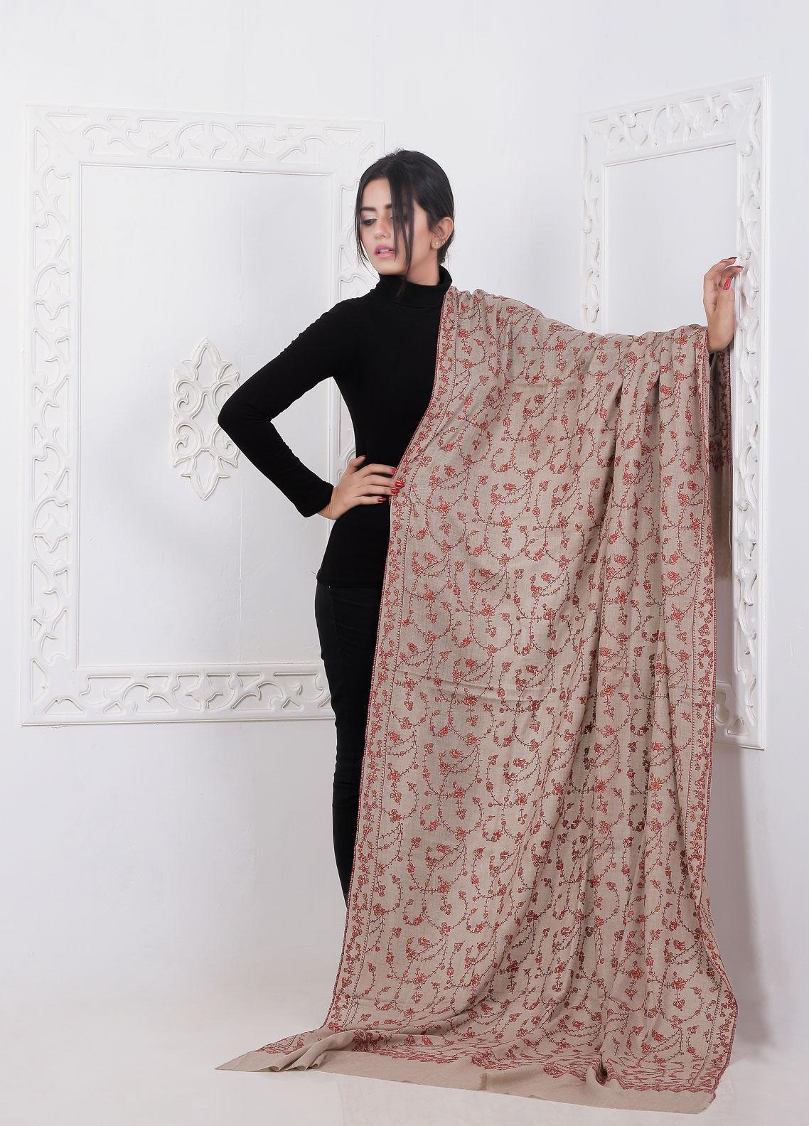 Sanaulla Exclusive Range Embroidered Pashmina  Shawl AKP-14 Brown - Pashmina Shawls