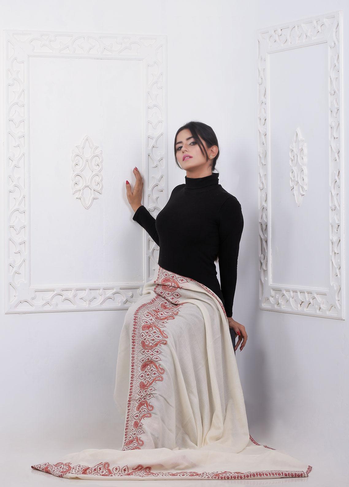 Sanaulla Exclusive Range Embroidered Pashmina  Shawl AKP-17 Off White - Pashmina Shawls