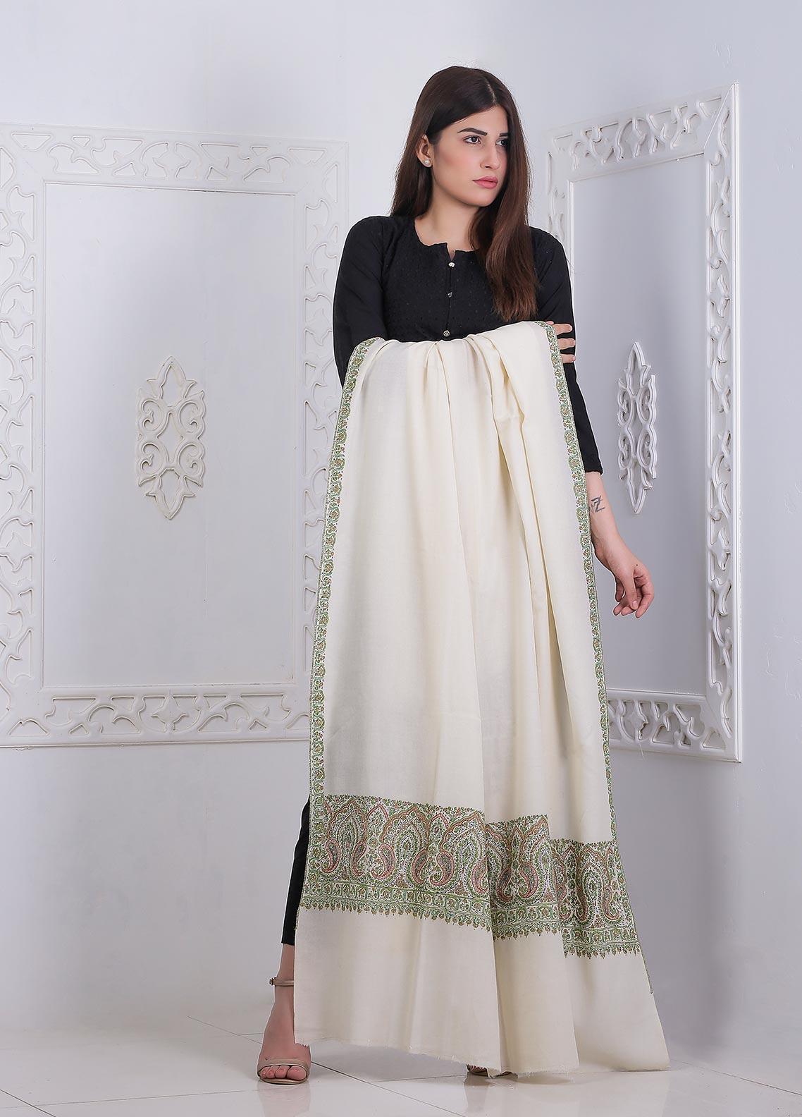 Sanaulla Exclusive Range Embroidered Pashmina  Shawl AKP-25 Off/White - Pashmina Shawls