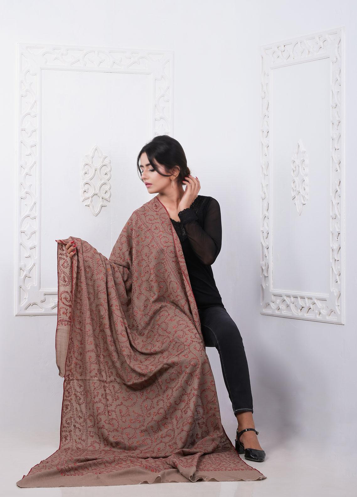 Sanaulla Exclusive Range Embroidered Pashmina  Shawl AKP-280 Brown - Pashmina Shawls