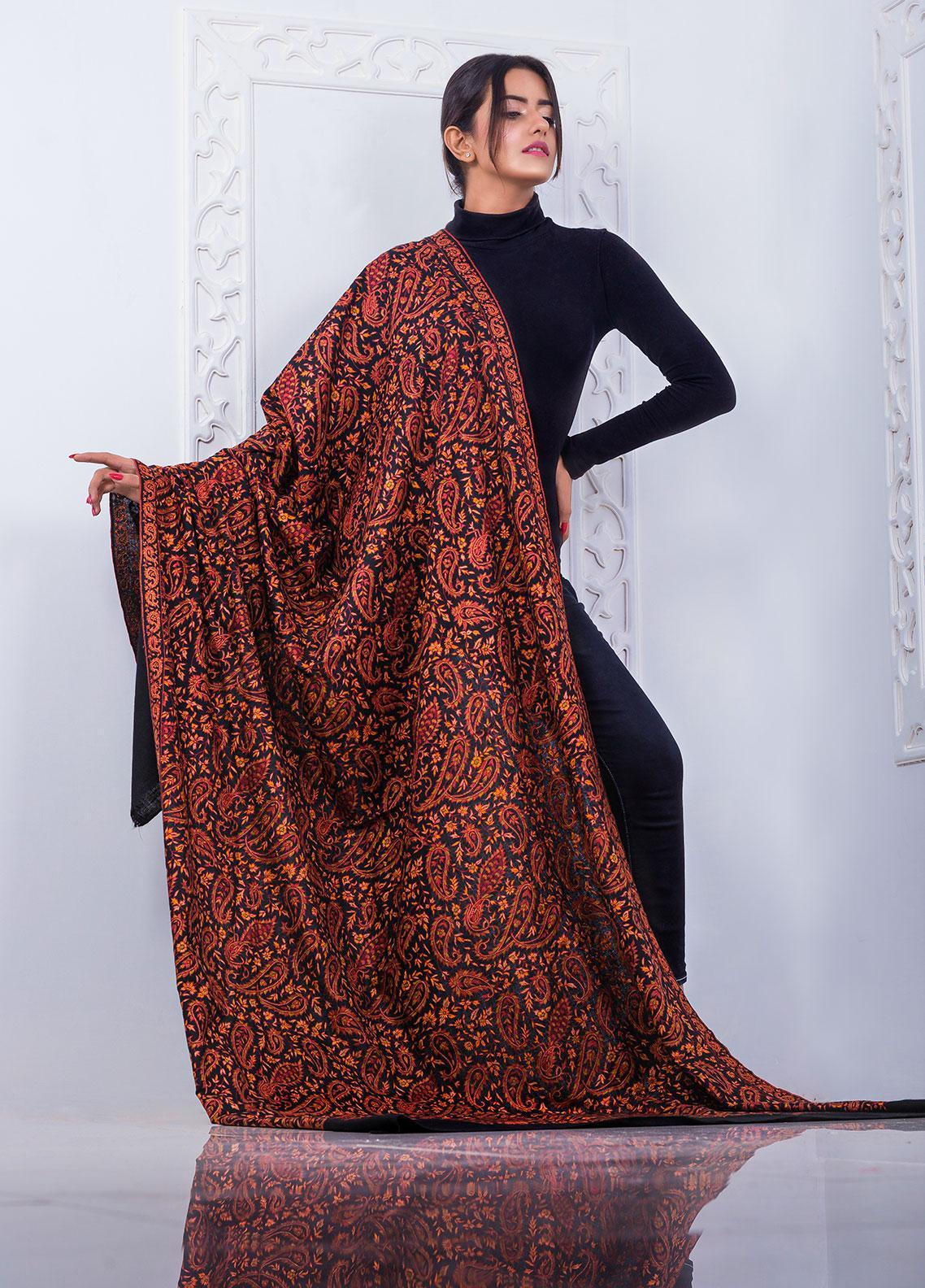 Sanaulla Exclusive Range Embroidered Pashmina Shawl 146121 - Pashmina Shawls