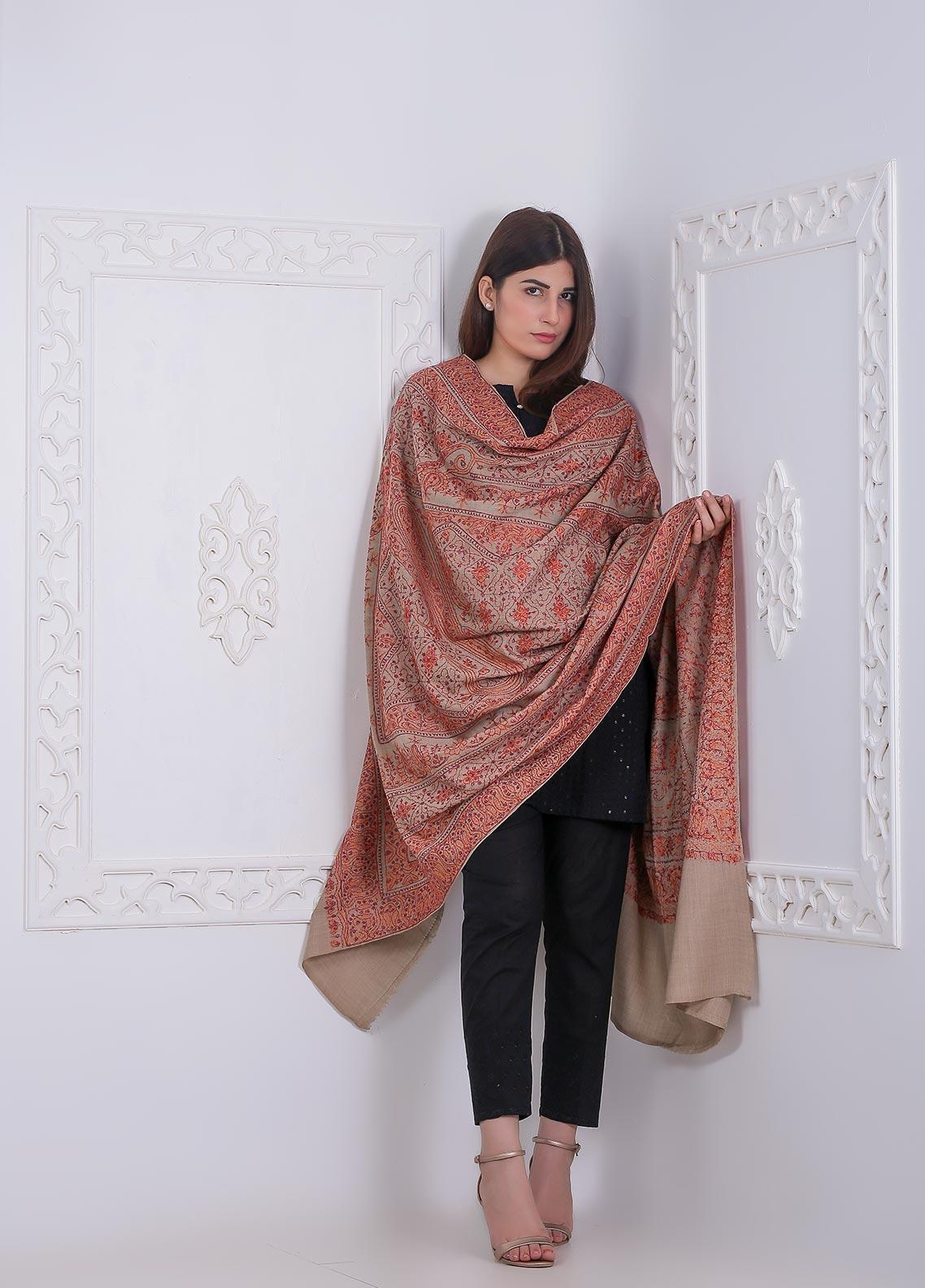 Sanaulla Exclusive Range Embroidered Pashmina Shawl Fancy 191445 - Pashmina Shawls