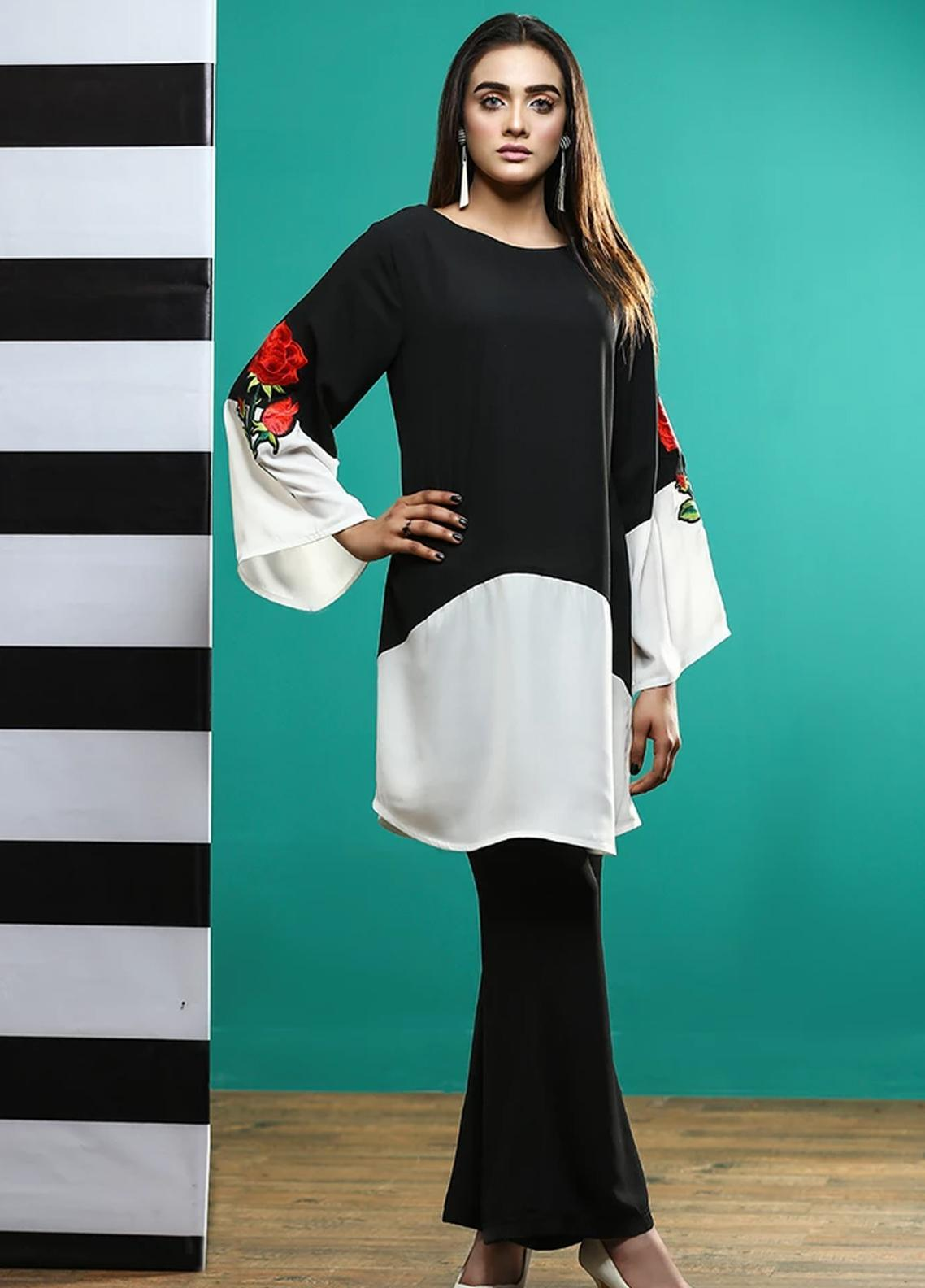 Pulsar Embroidered Georgette Stitched Kurtis Black Will