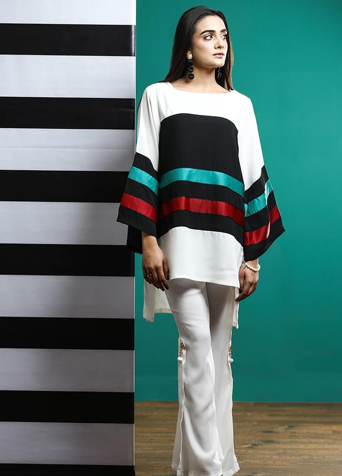 Pulsar Fancy Style Georgette Stitched Kurtis Frosty Stripes