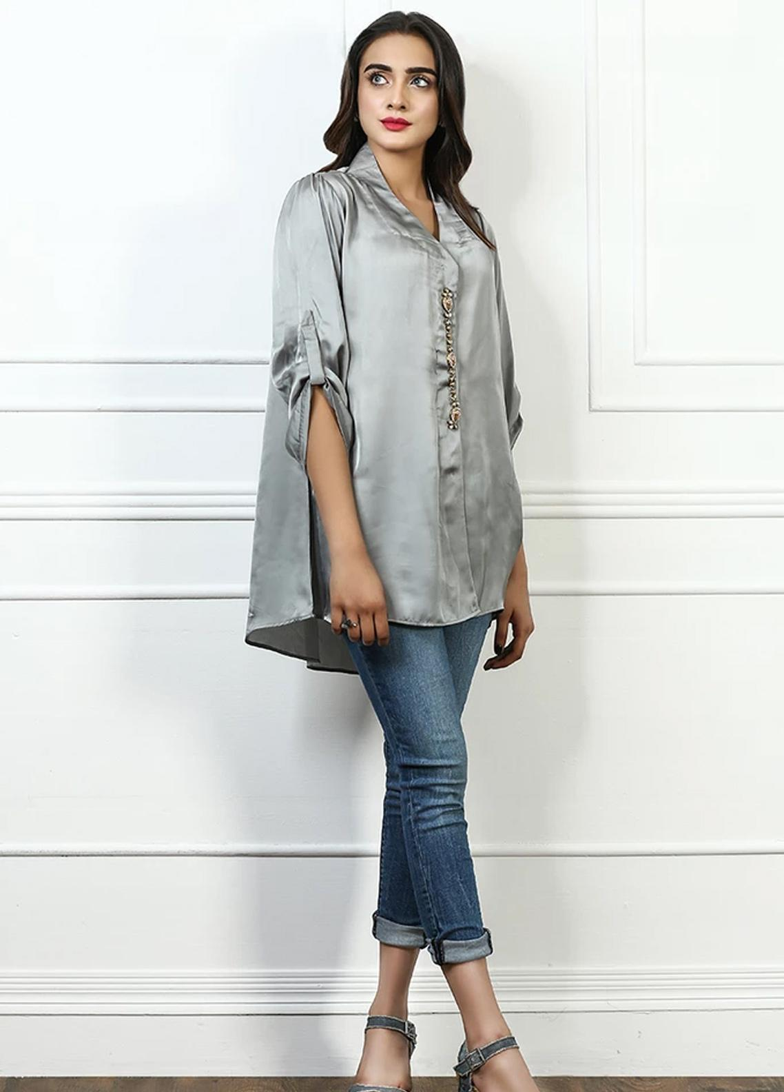 Pulsar Fancy Style Silk Stitched Kurtis Grey Grand