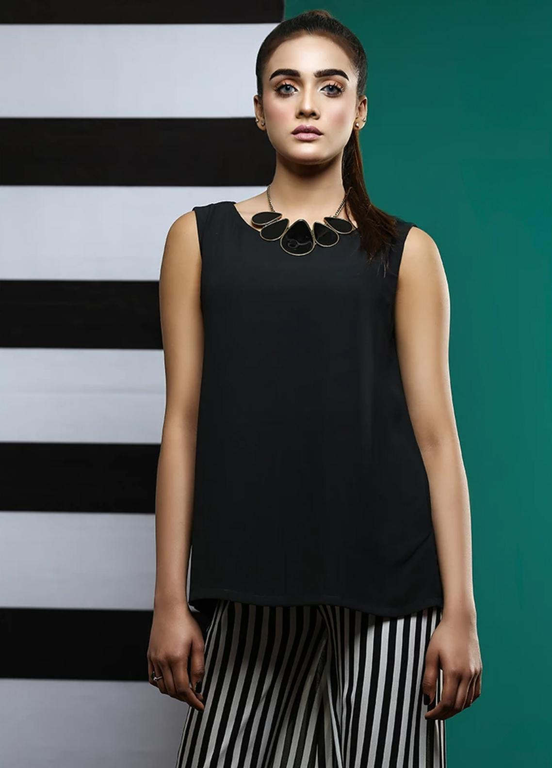Pulsar Fancy Style Georgette Stitched Kurtis The Black Top