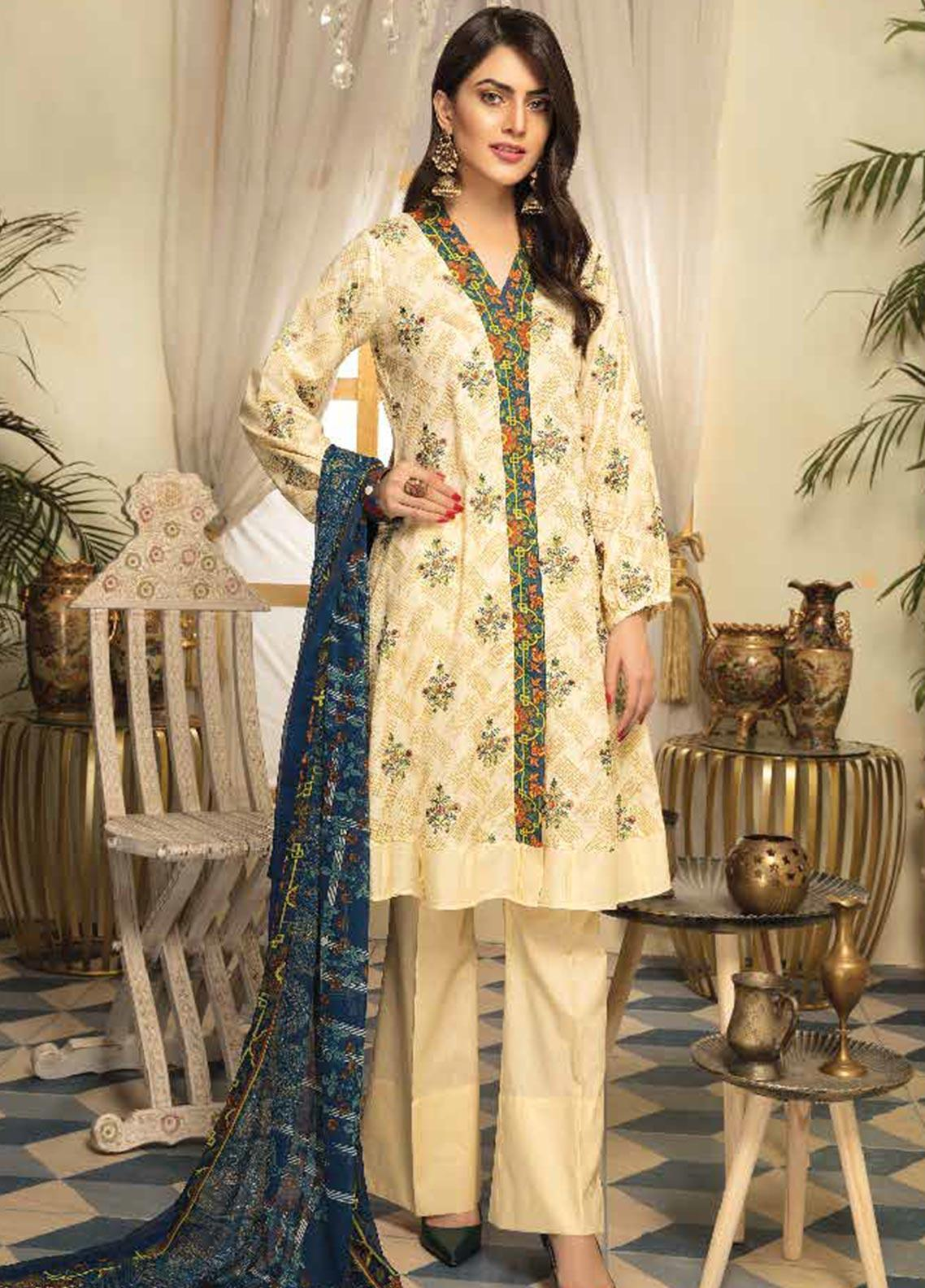 Range by Sanam Saeed Embroidered Lawn Unstitched 3 Piece Suit PF20RS 01 - Luxury Collection