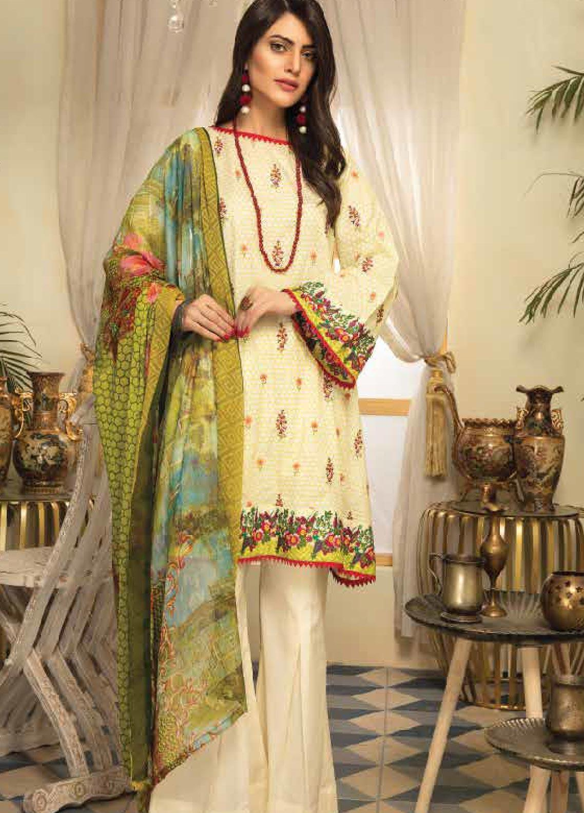 Range by Sanam Saeed Embroidered Lawn Unstitched 3 Piece Suit PF20RS 11 - Luxury Collection