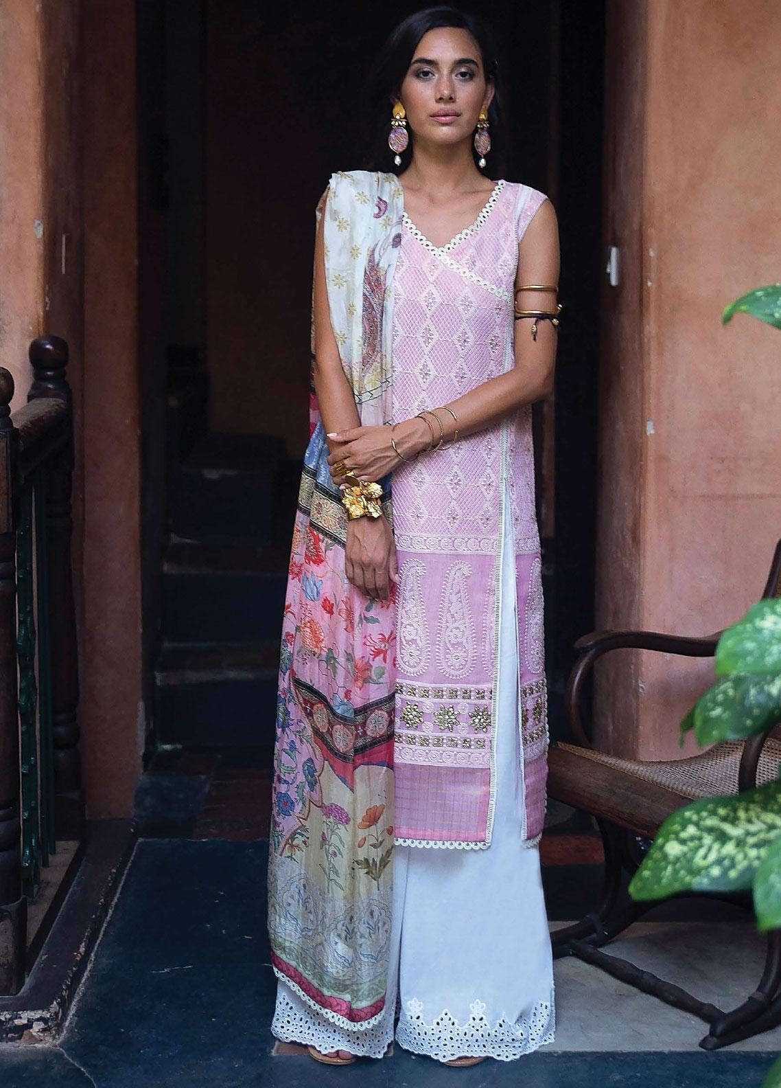 Qalamkar Chikankari Embroidered Lawn Unstitched 3 Piece Suit QLM20L 14 - Luxury Collection