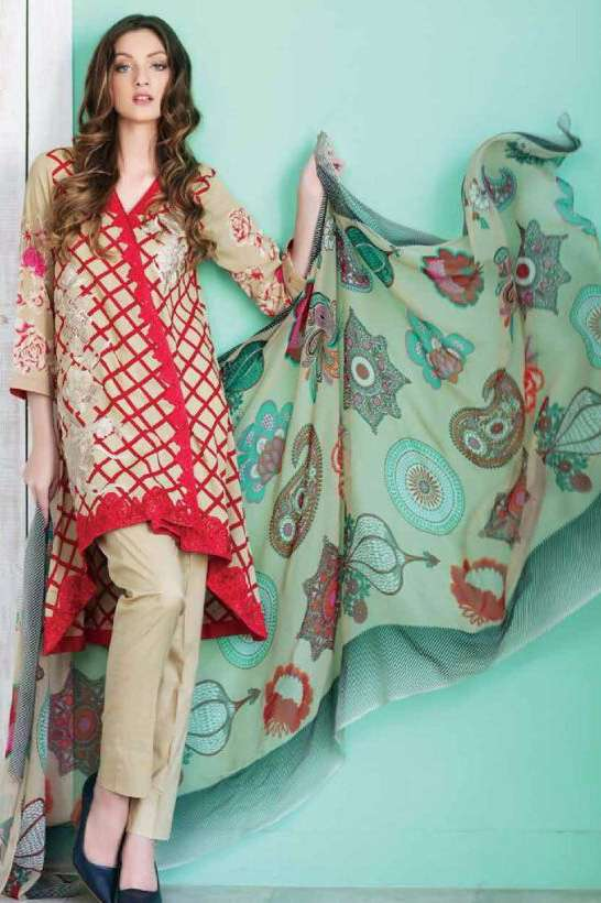 Riaz Arts Embroidered Swiss Voile Unstitched Suit 3 Piece Suit RA17V 13B