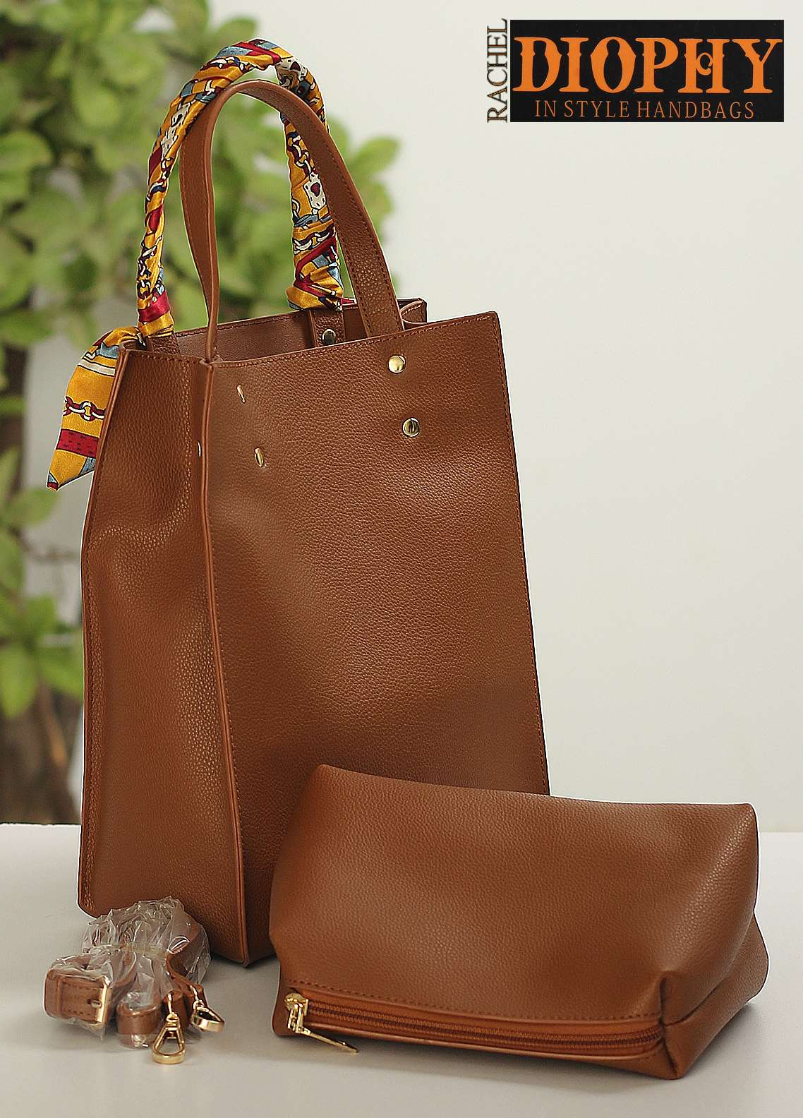 Rachel Diophy PU Leather Tote Handbags for Women - Brown with Plain Textured