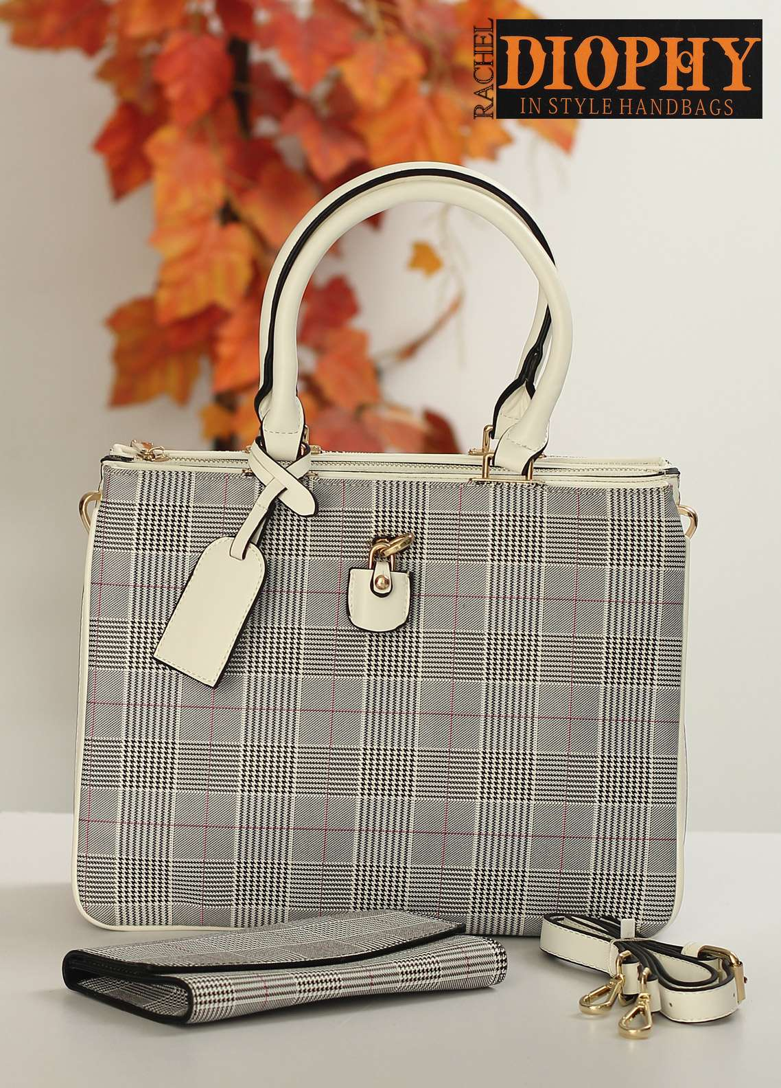 Rachel Diophy PU Leather Satchels Handbags for Women - White with Stripes Textured