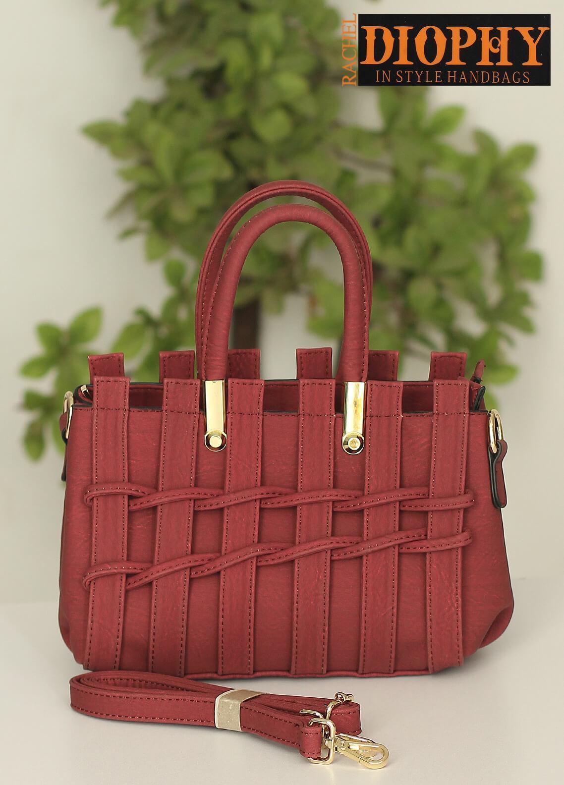 Rachel Diophy PU Leather Satchels Handbags for Women - Purple with Plain Textured