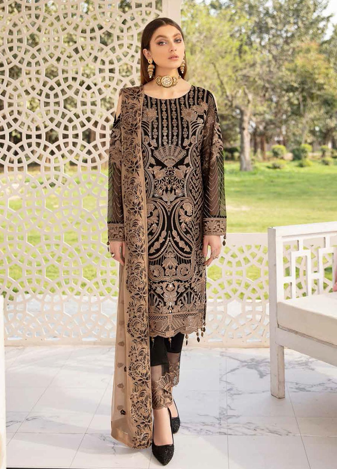 Ramsha Embroidered Chiffon Suits Unstitched 3 Piece RSH21-C20 2001 - Luxury Collection