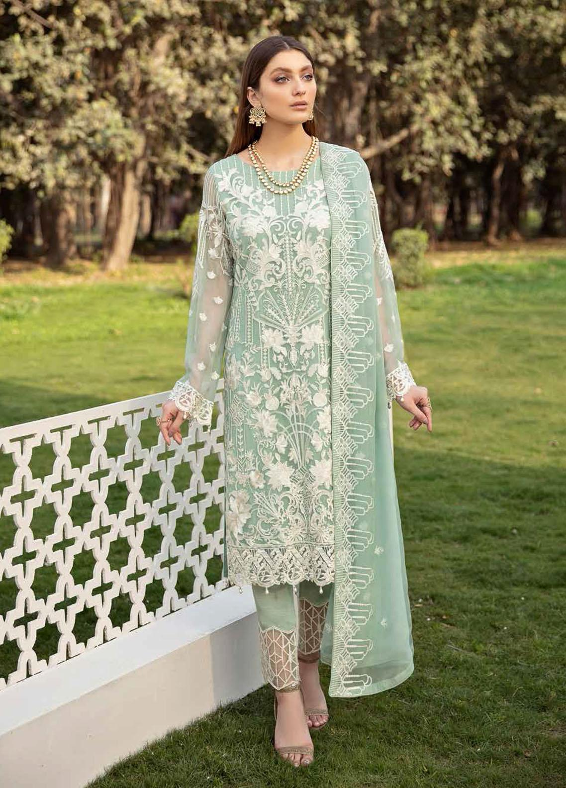 Ramsha Embroidered Chiffon Suits Unstitched 3 Piece RSH21-C20 2002 - Luxury Collection