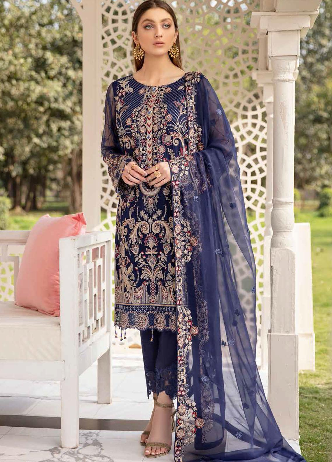Ramsha Embroidered Chiffon Suits Unstitched 3 Piece RSH21-C20 2005 - Luxury Collection