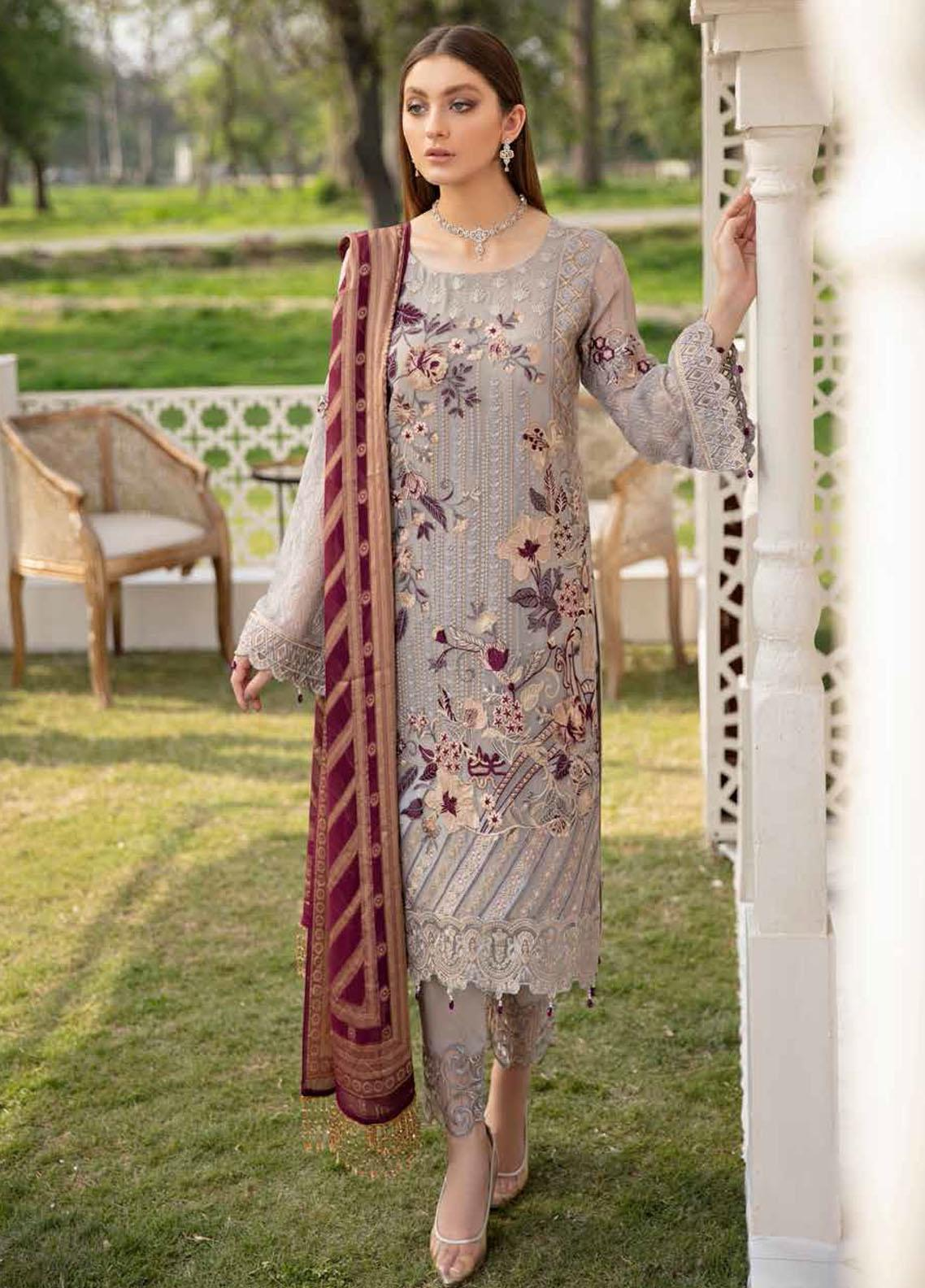 Ramsha Embroidered Chiffon Suits Unstitched 3 Piece RSH21-C20 2006 - Luxury Collection
