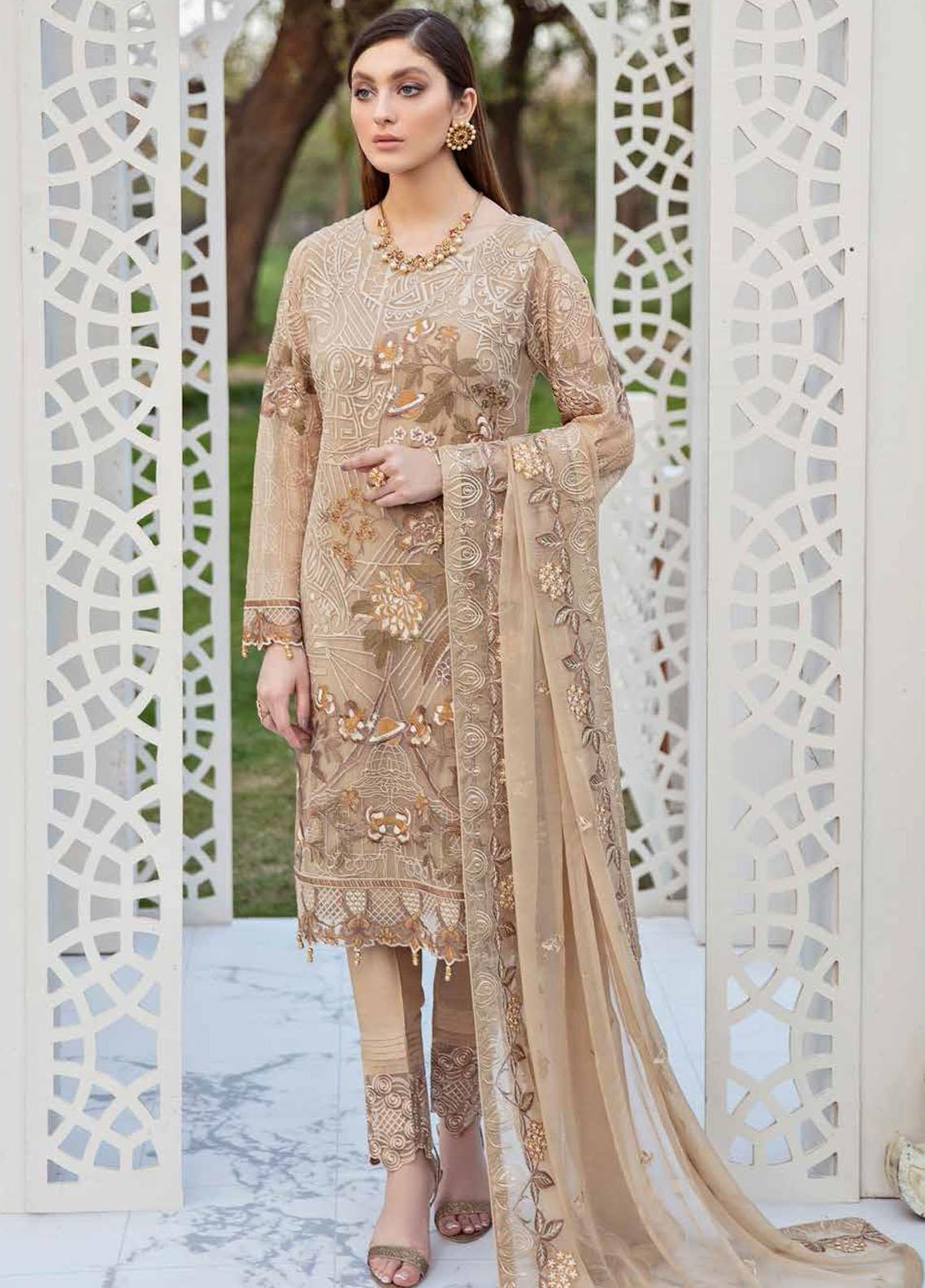 Ramsha Embroidered Chiffon Suits Unstitched 3 Piece RSH21-C20 2007 - Luxury Collection